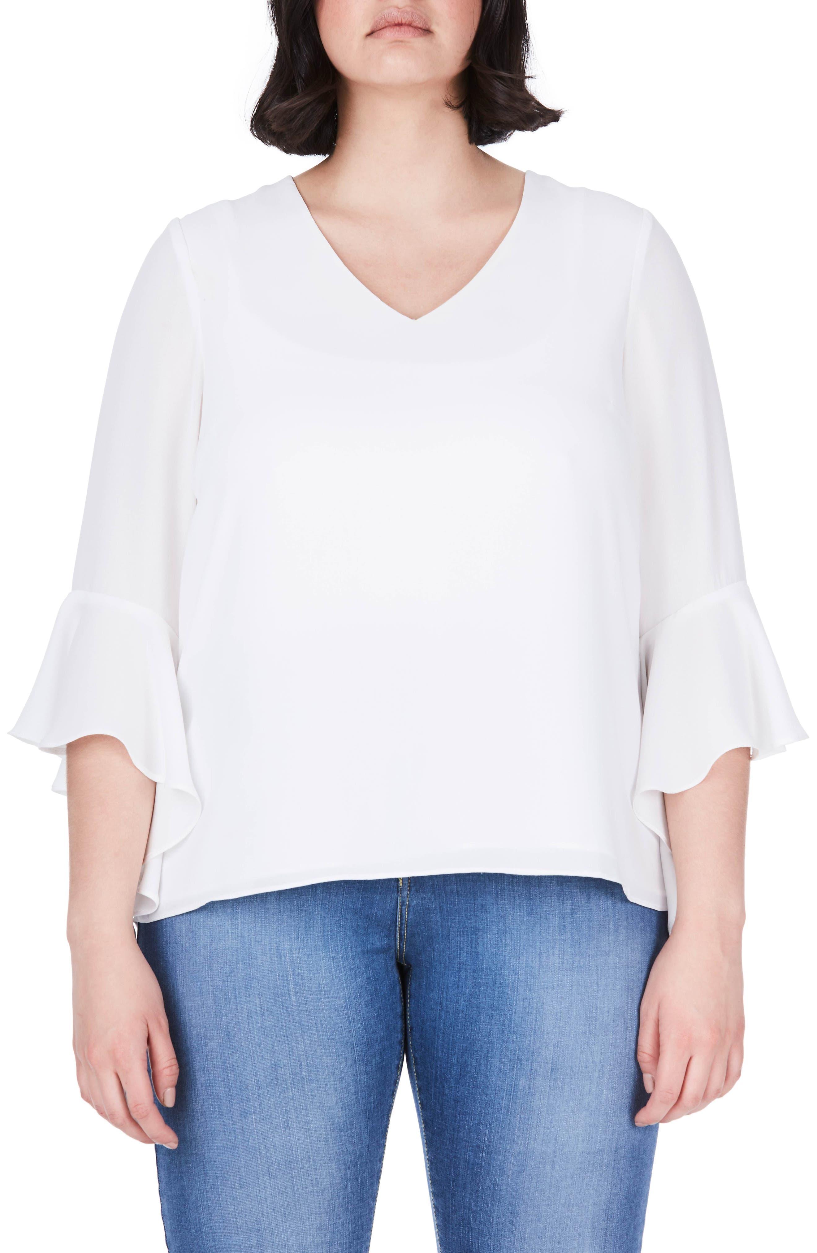 ELVI Bell Sleeve Top (Plus Size)