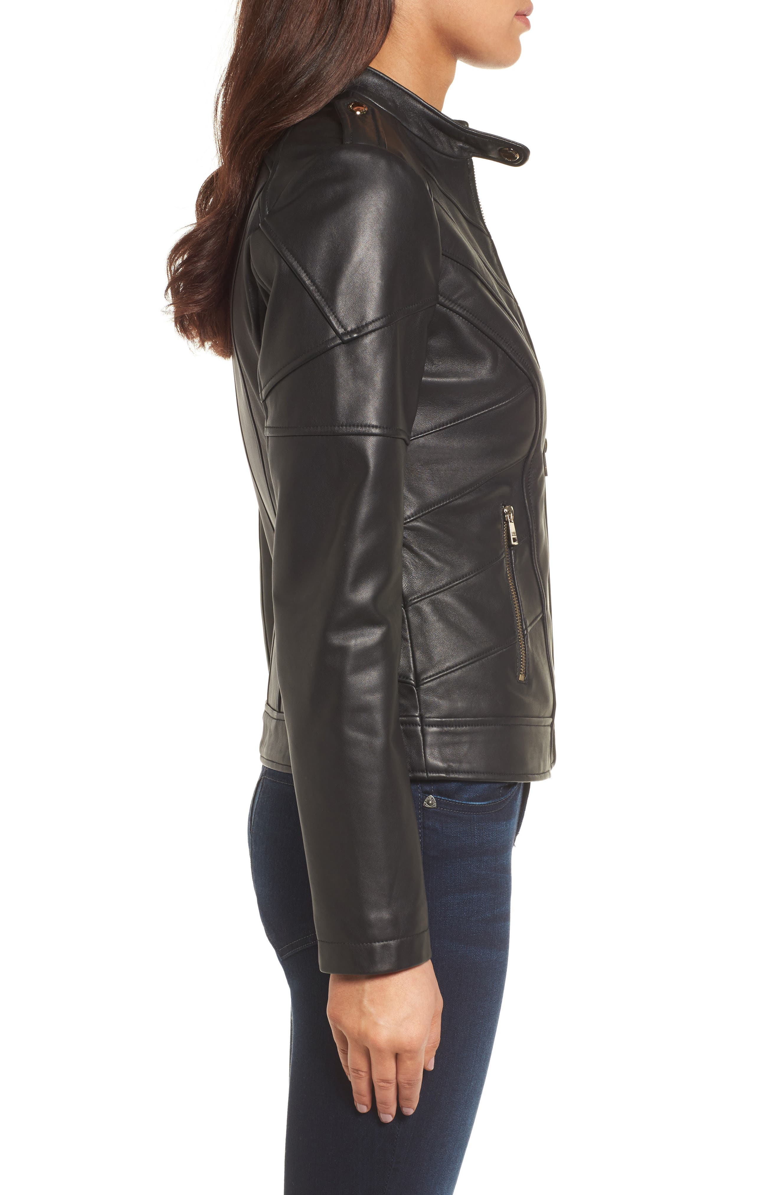 Alternate Image 3  - Catherine Catherine Malandrino Chevron Seam Leather Jacket