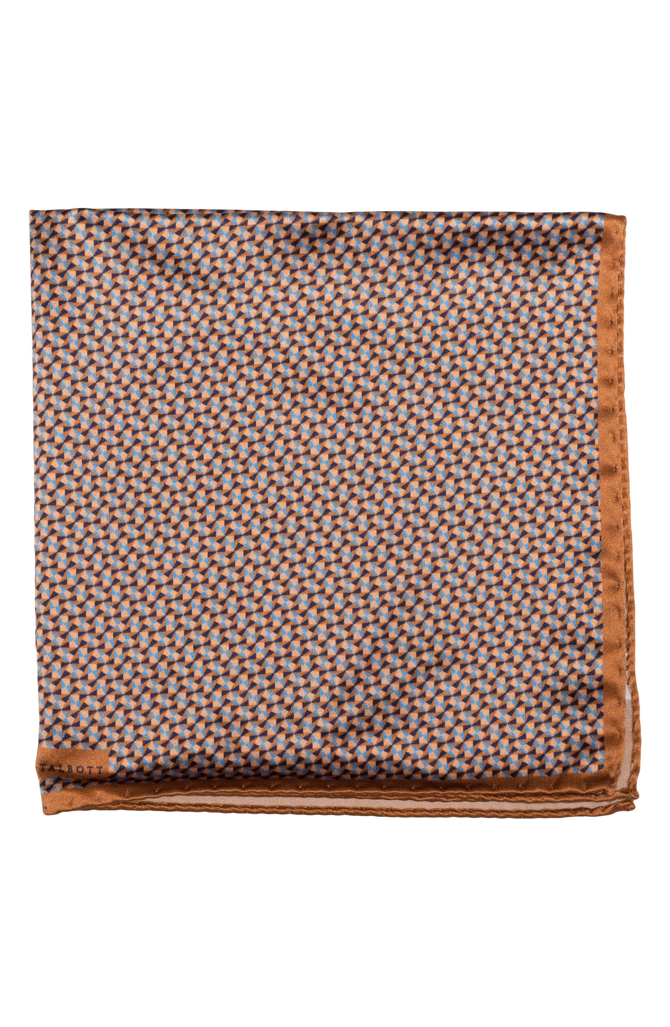 Geometric Silk Pocket Square,                             Main thumbnail 1, color,                             Brown