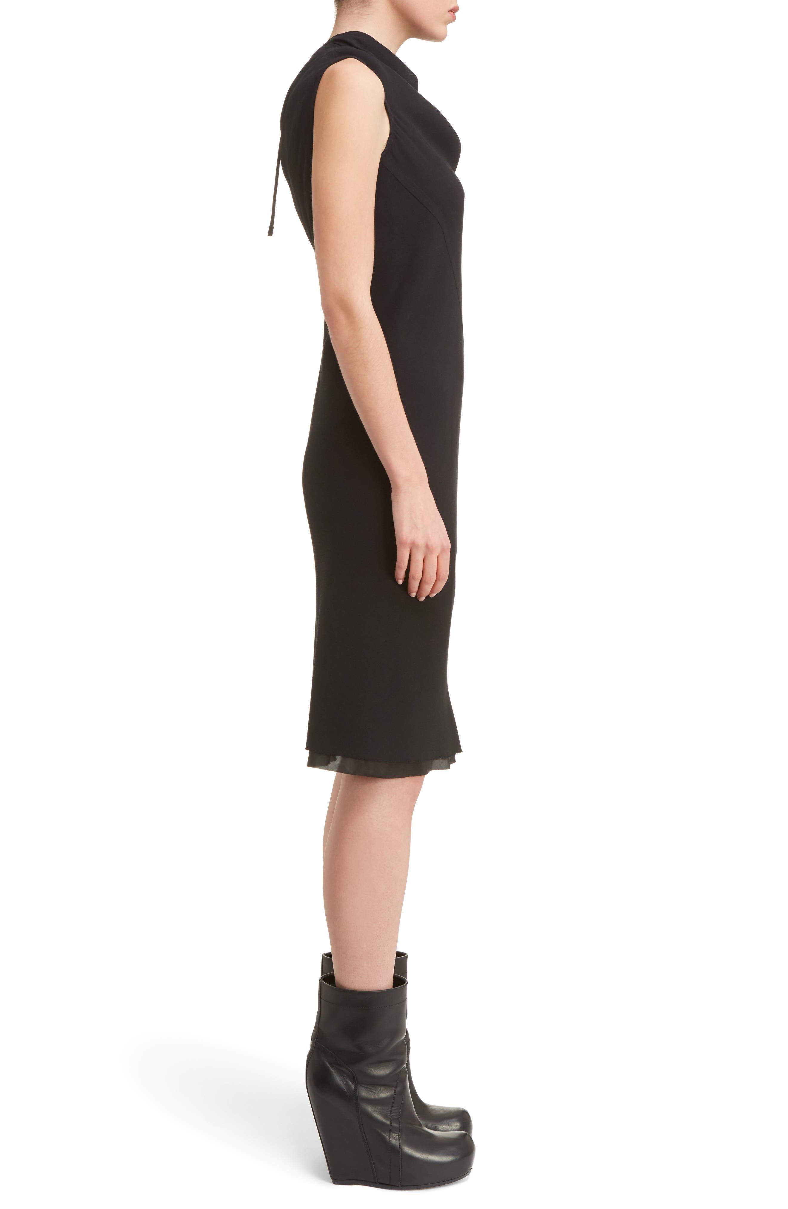 Drape Neck Dress,                             Alternate thumbnail 4, color,                             Black