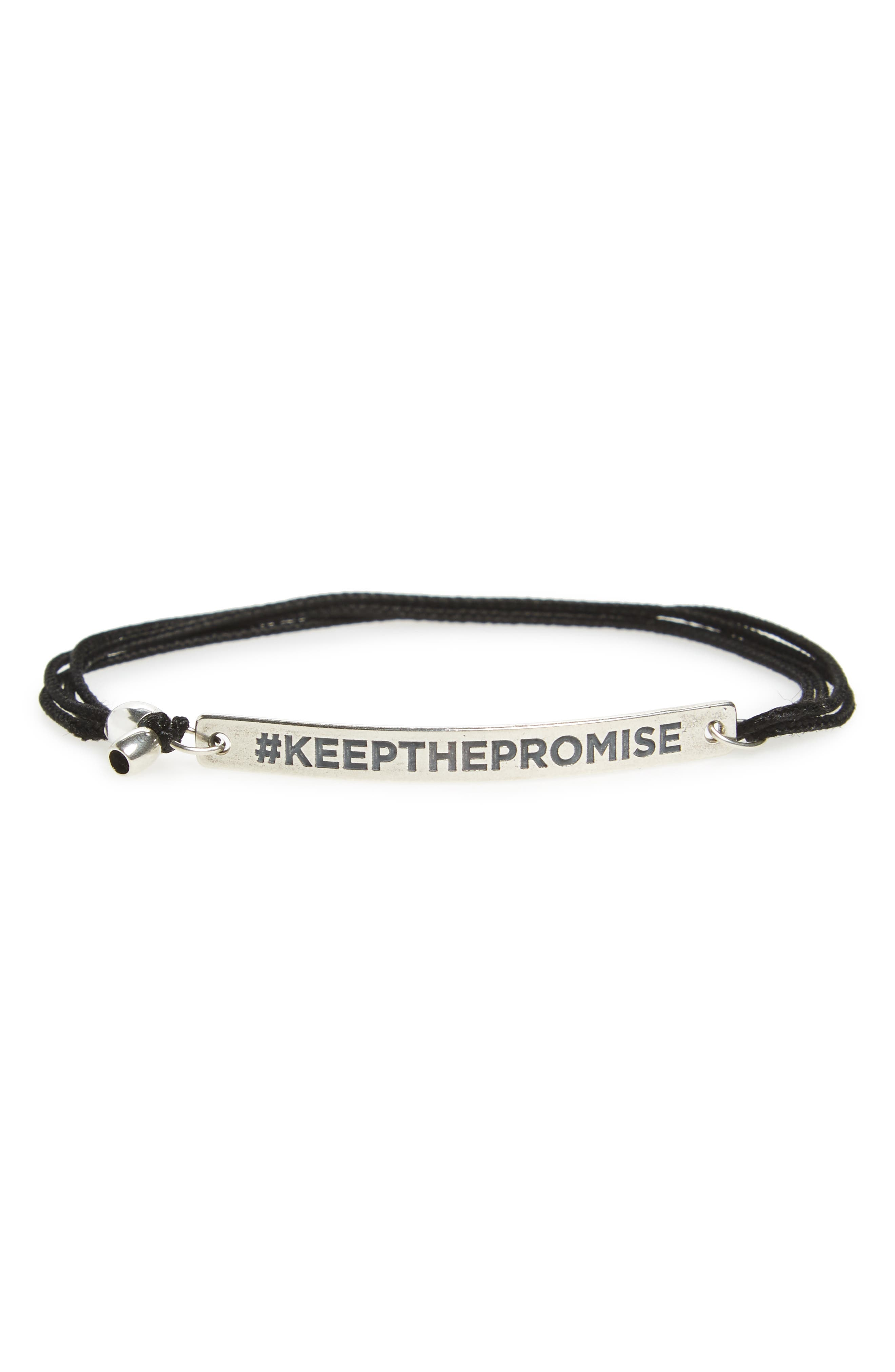 Keep the Promise Pull Cord Bracelet,                             Main thumbnail 1, color,                             Silver