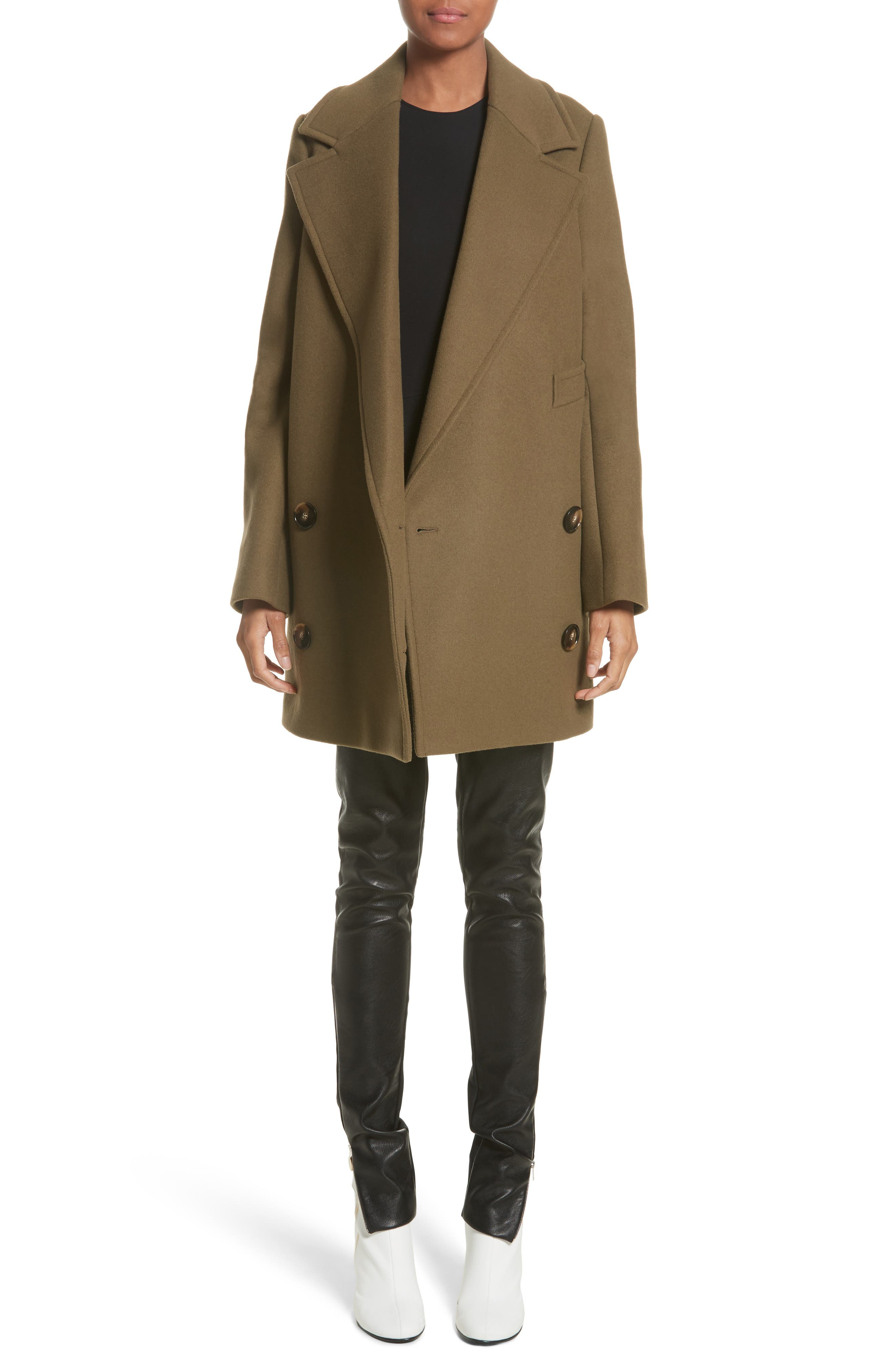 'Edith' Double Breasted Wool Blend Coat,                         Main,                         color, Mud