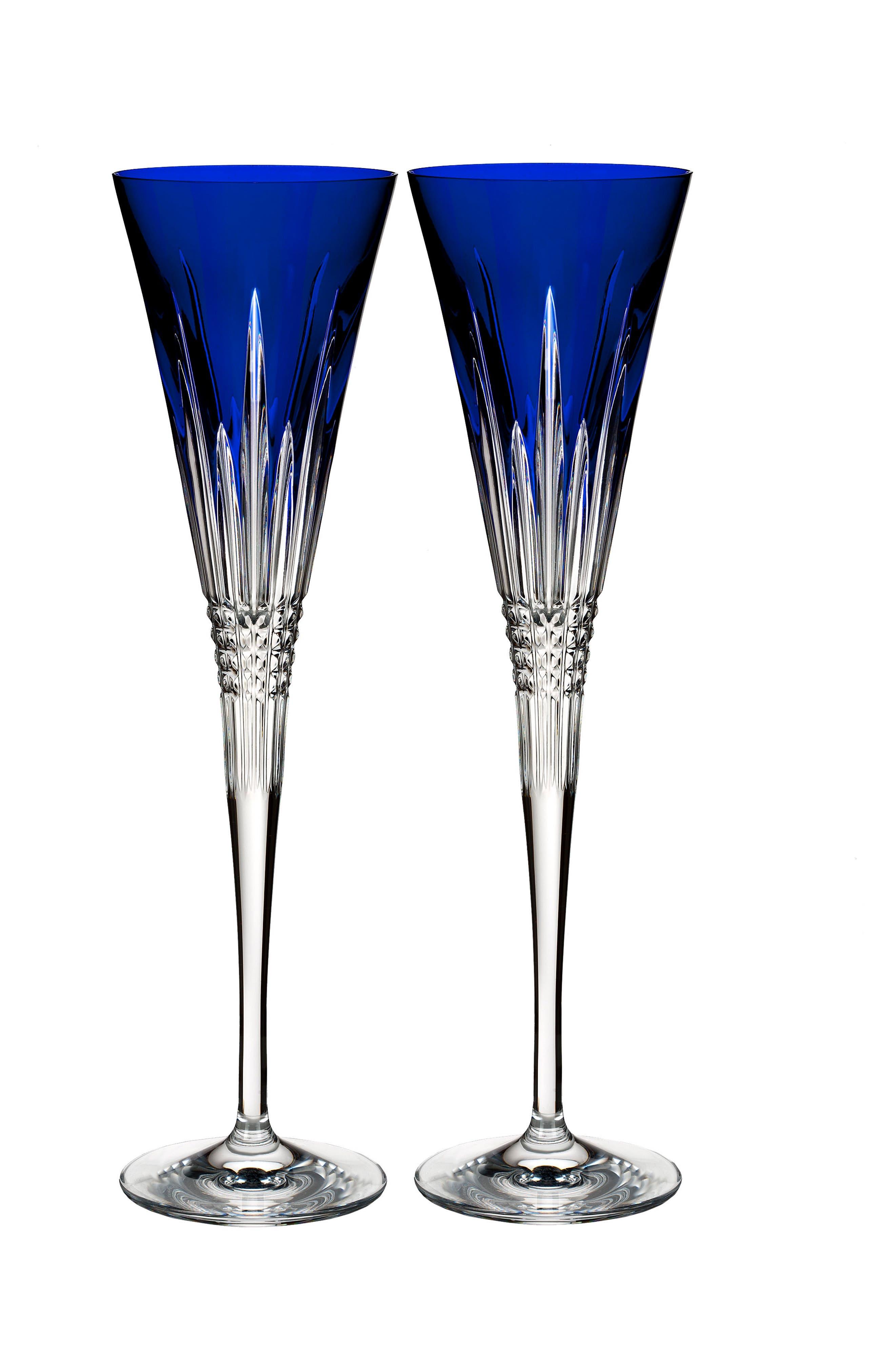 Lismore Diamond Set of 2 Cobalt Toasting Flutes,                         Main,                         color, Crystal