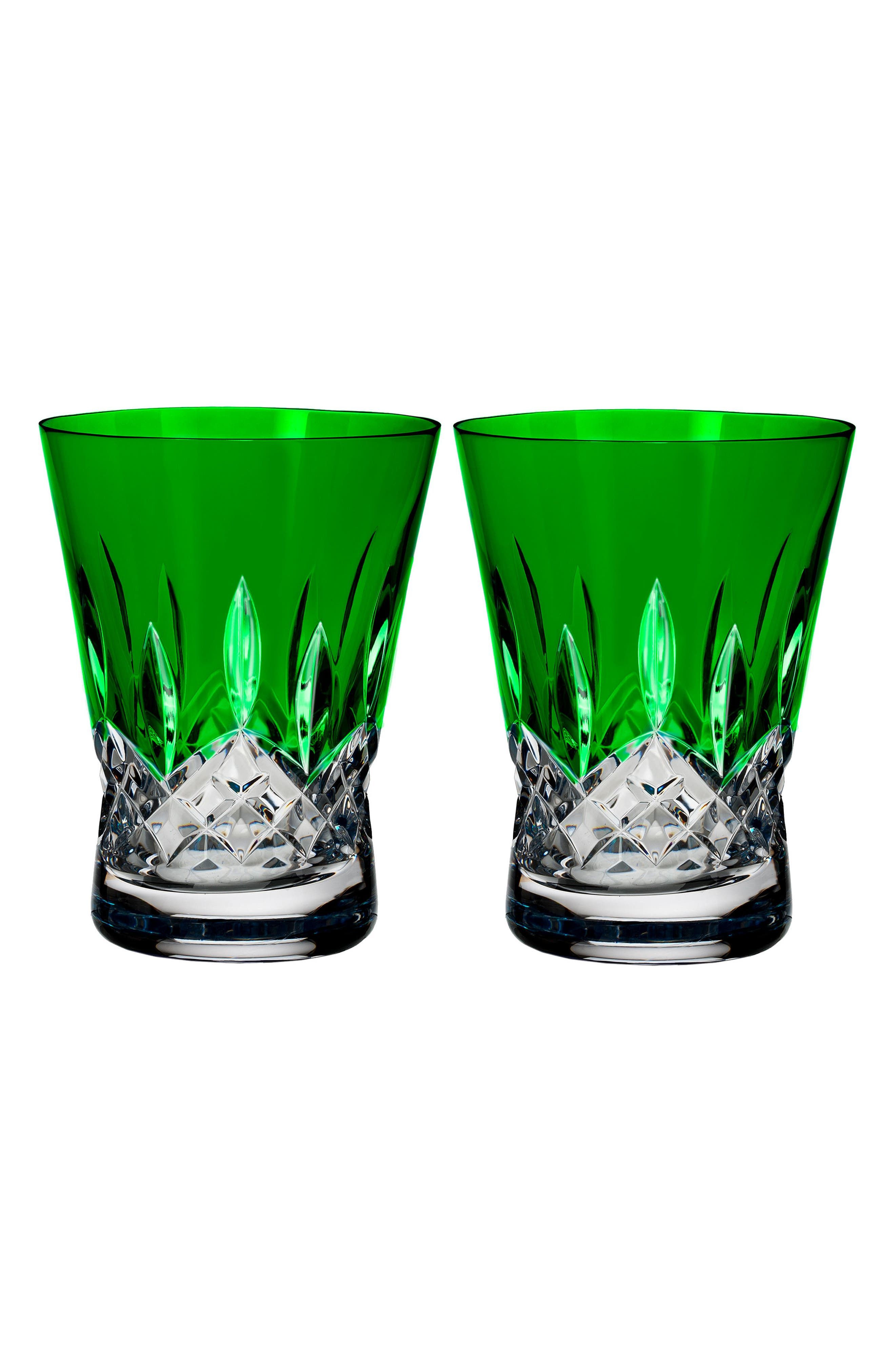 Waterford Lismore Pops Set of 2 Emerald Lead Crystal Double Old Fashioned Glasses