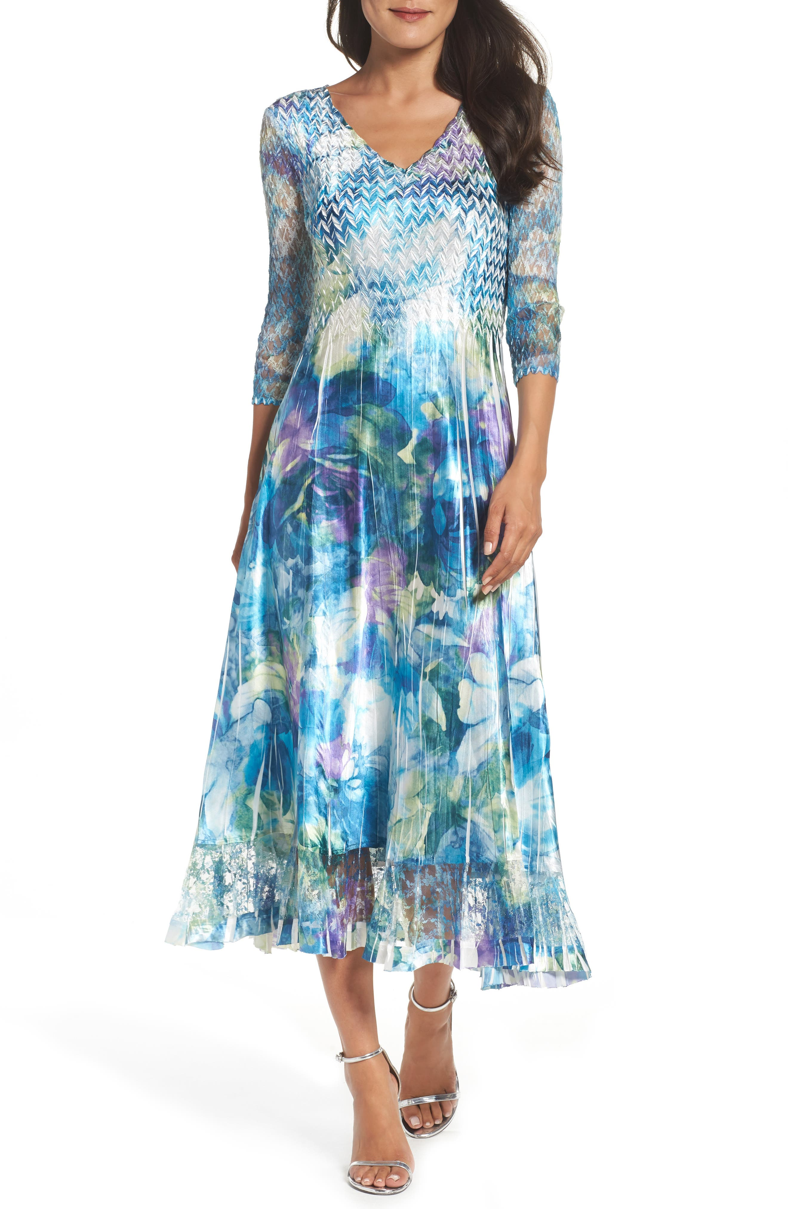 A-Line Dress,                         Main,                         color, Cerulean Orchid