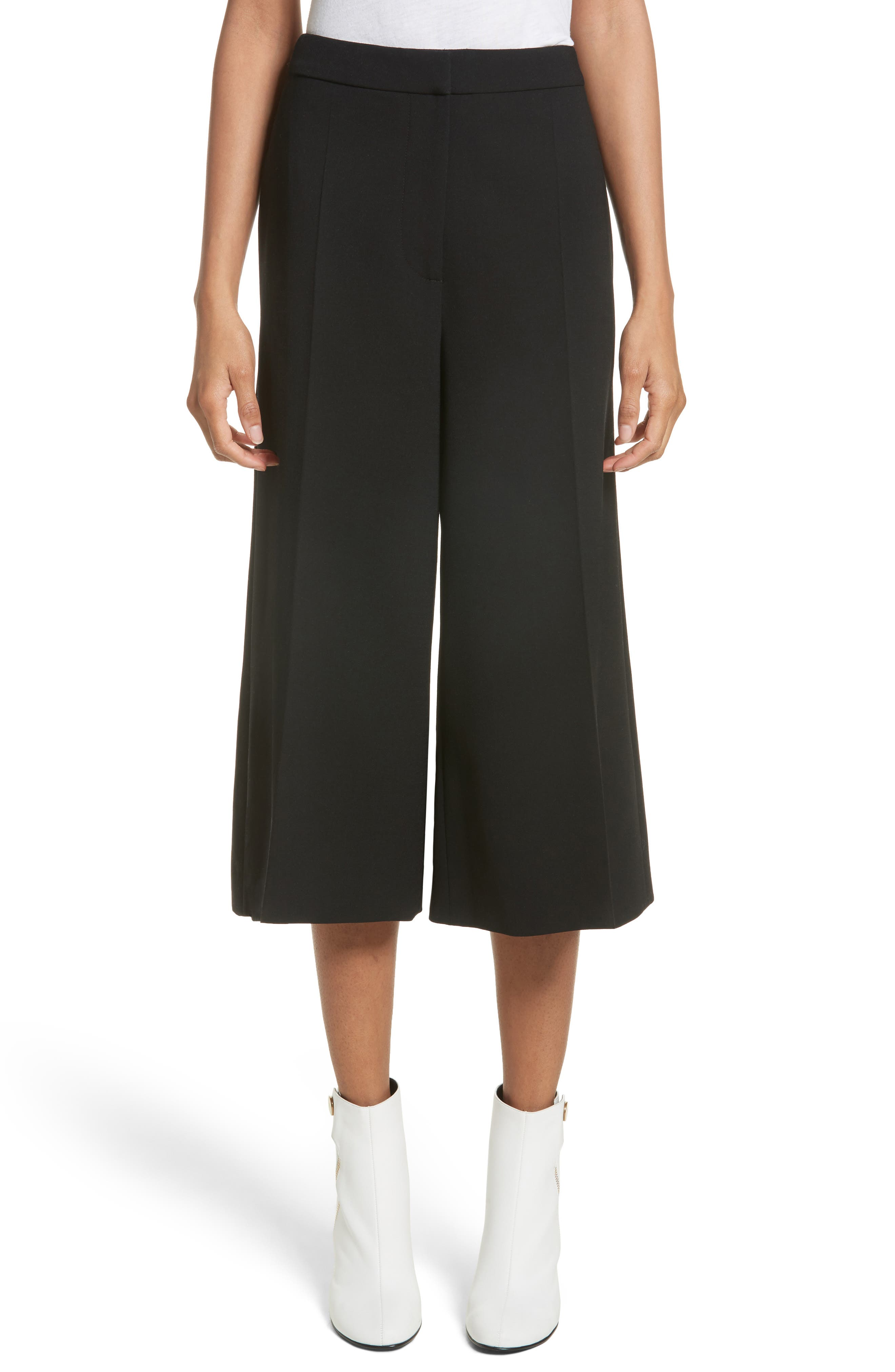 Stretch Wool Culottes,                             Main thumbnail 1, color,                             Black
