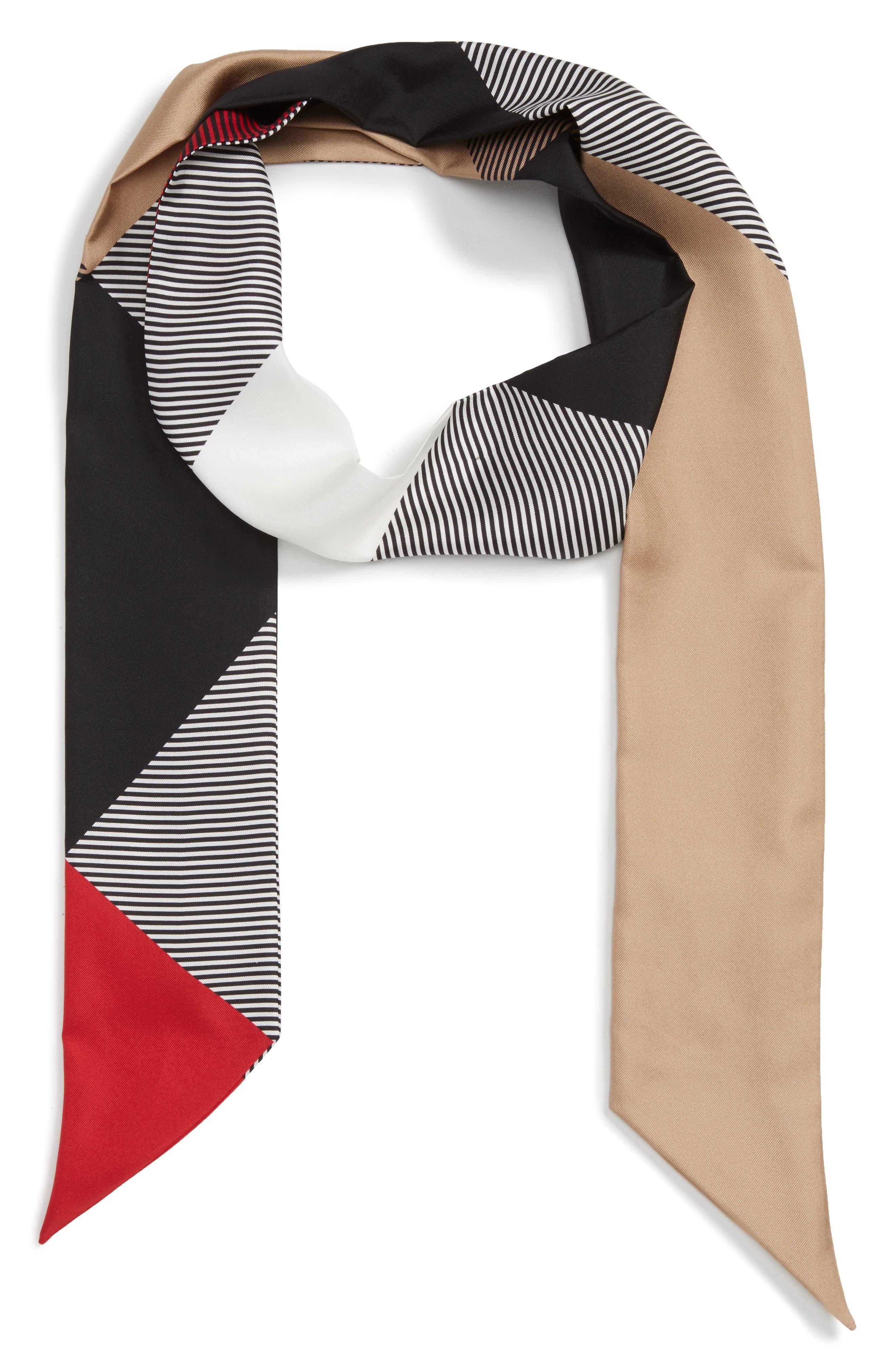 Alternate Image 1 Selected - Burberry Mega Check Silk Skinny Scarf