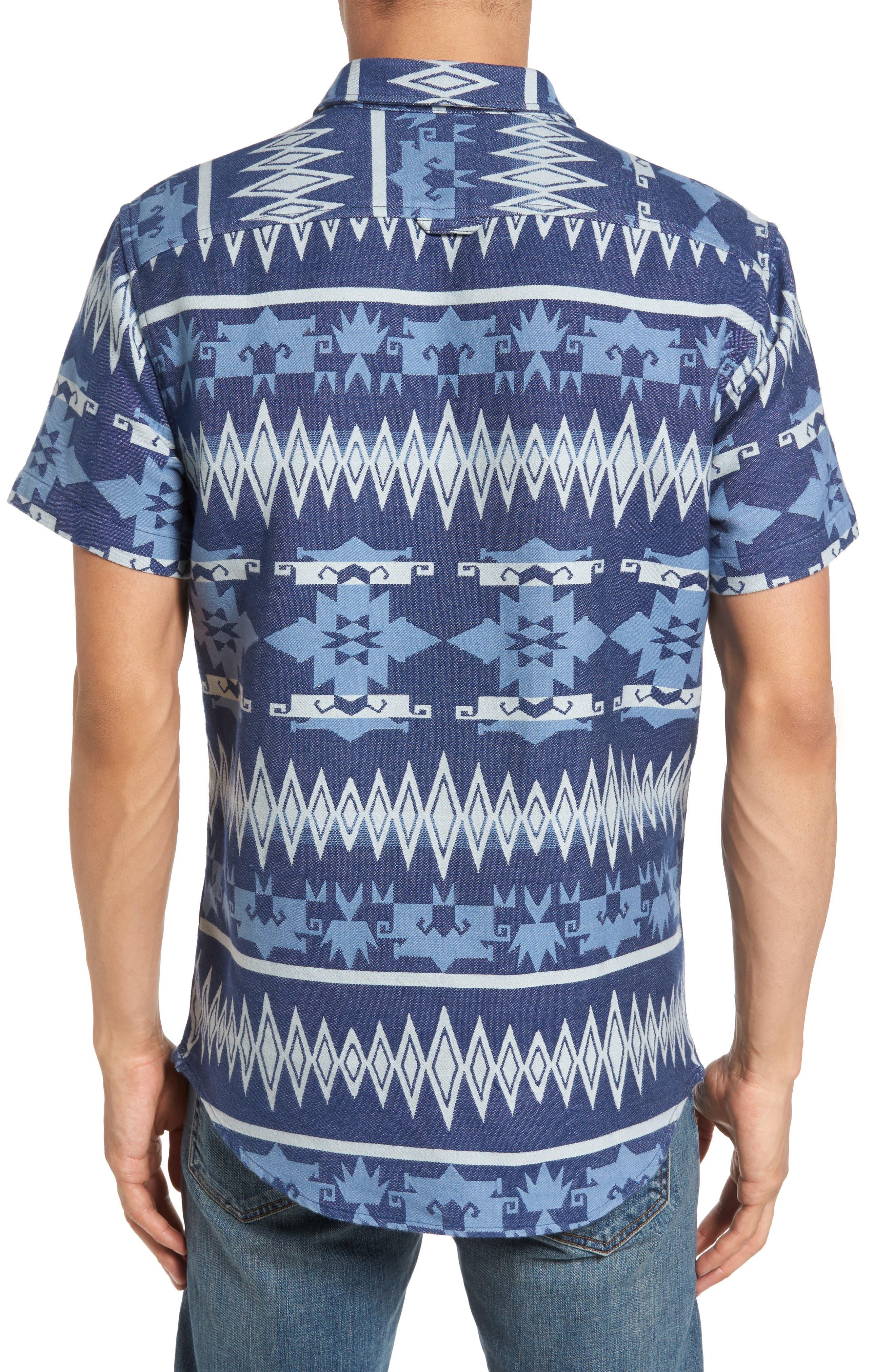 Geo Jacquard Shirt,                             Alternate thumbnail 2, color,                             Blue Dusk Oversize Geo