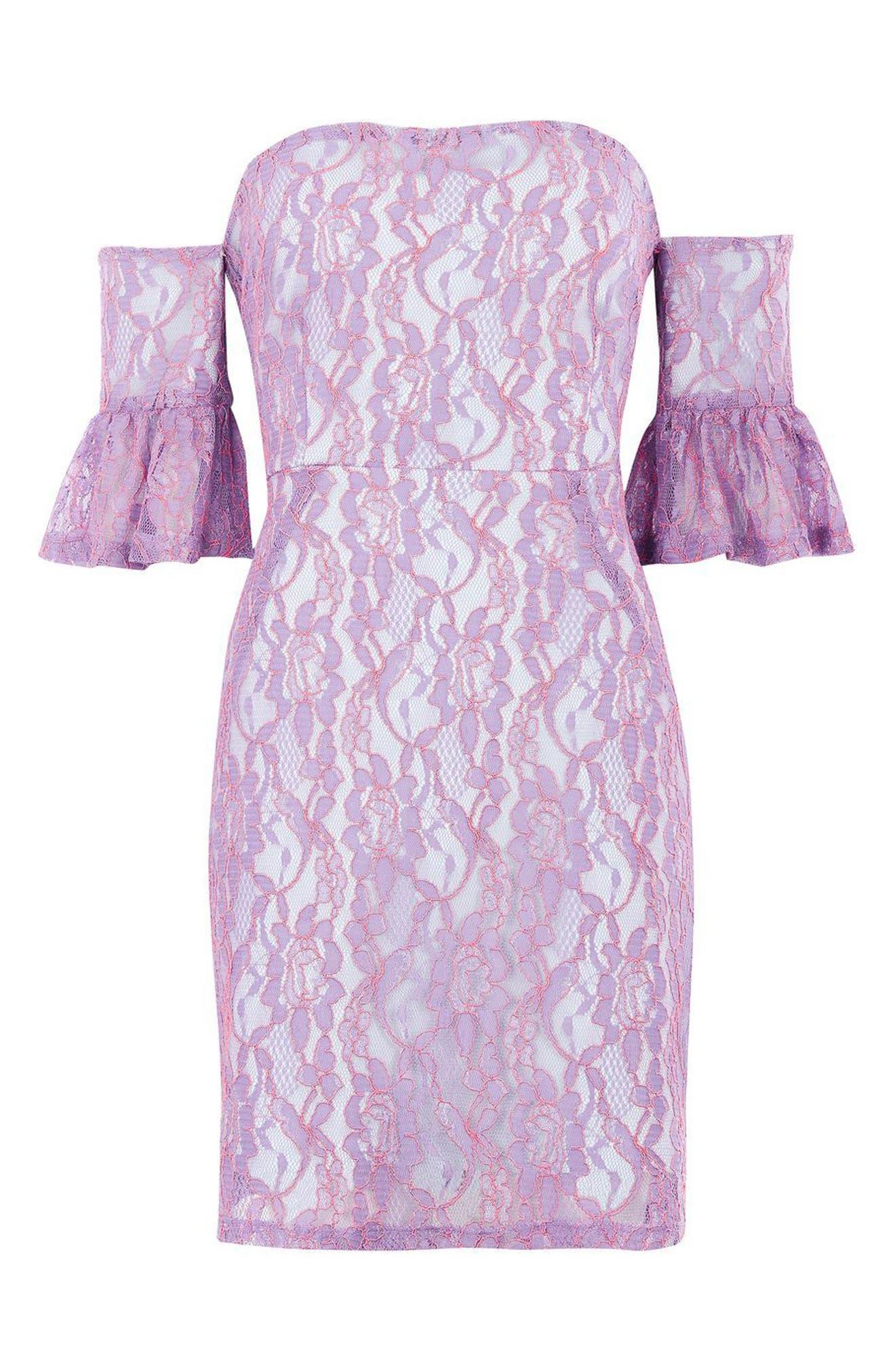 Alternate Image 3  - Topshop Bardot Flute Sleeve Lace Dress