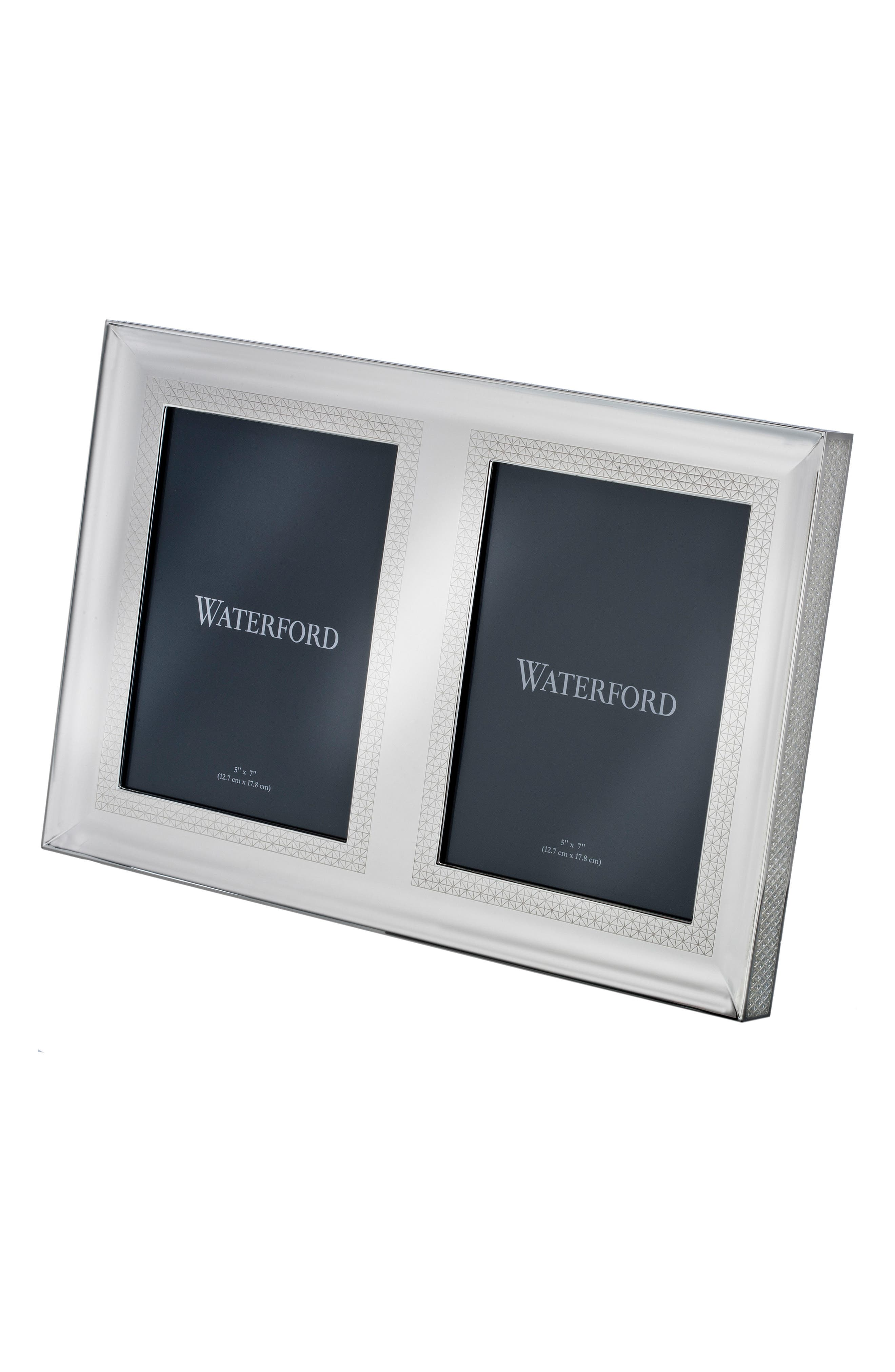 Lismore Diamond Silver Double Picture Frame,                         Main,                         color, Crystal