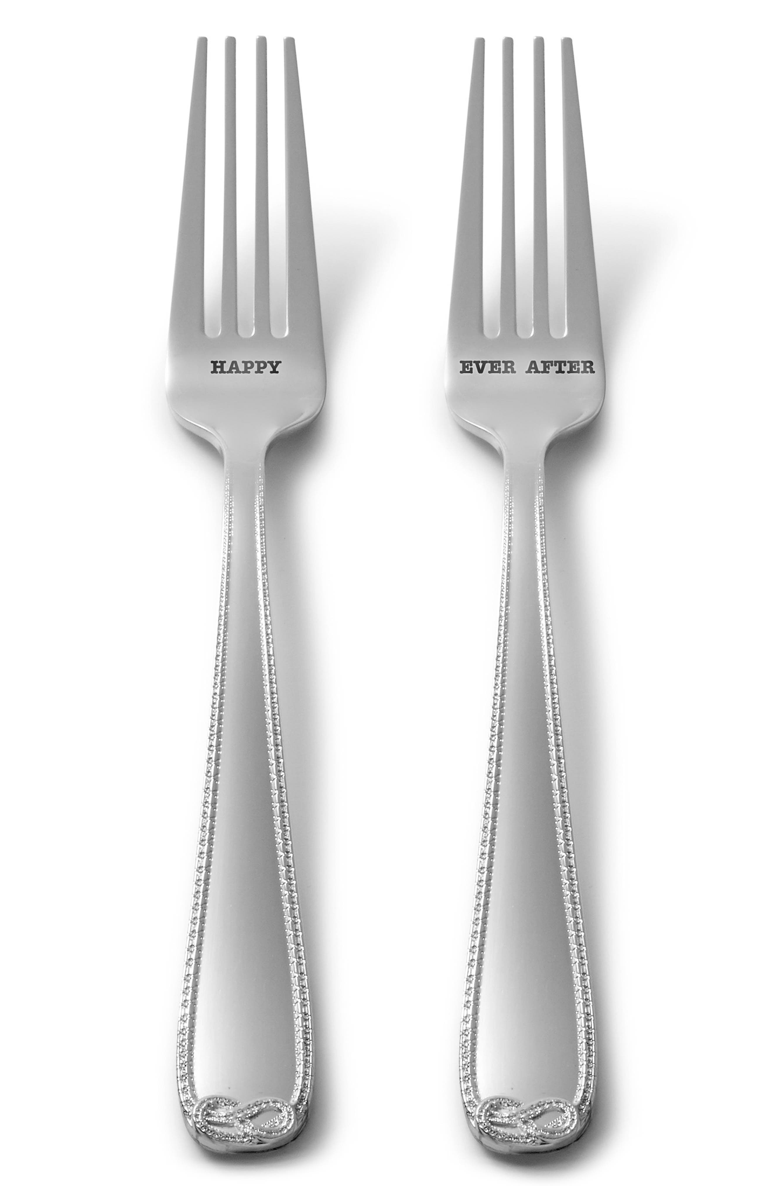 x Wedgwood Infinity Happy Ever After Set of 2 Silver Plated Forks,                             Main thumbnail 1, color,                             Metallic Silver