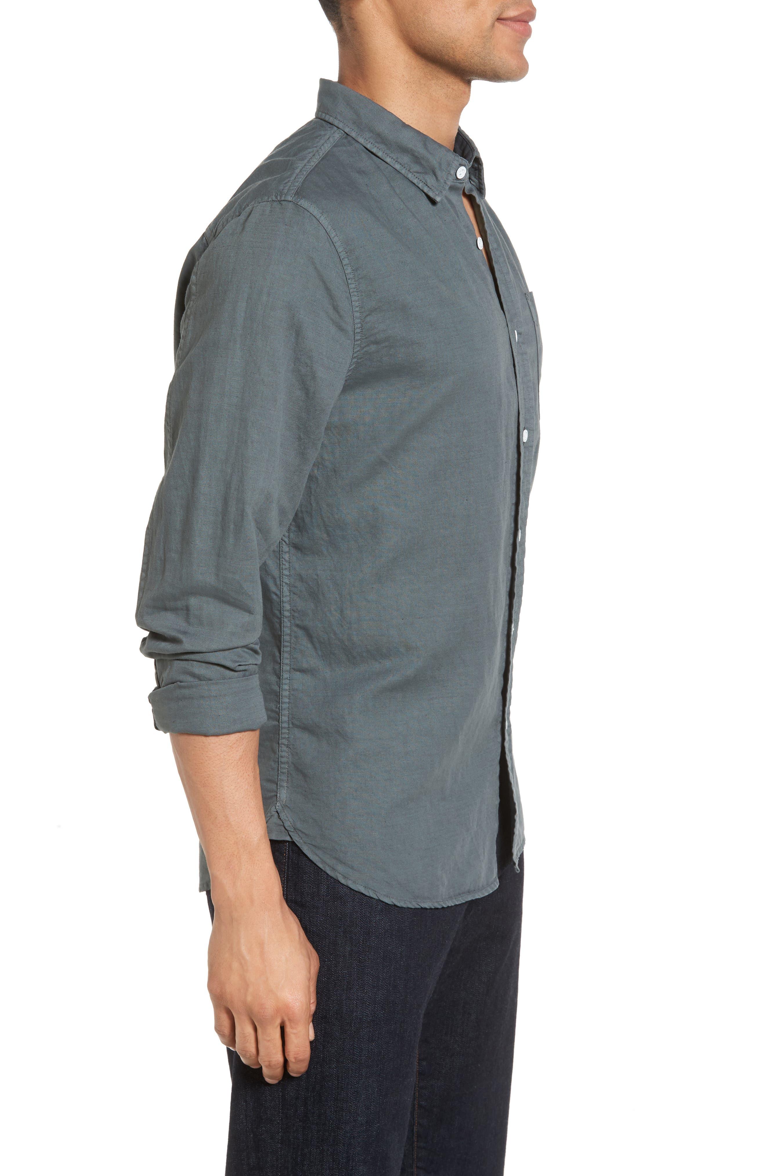 Colton Slim Fit Cotton & Linen Sport Shirt,                             Alternate thumbnail 3, color,                             Pigment Castlerock