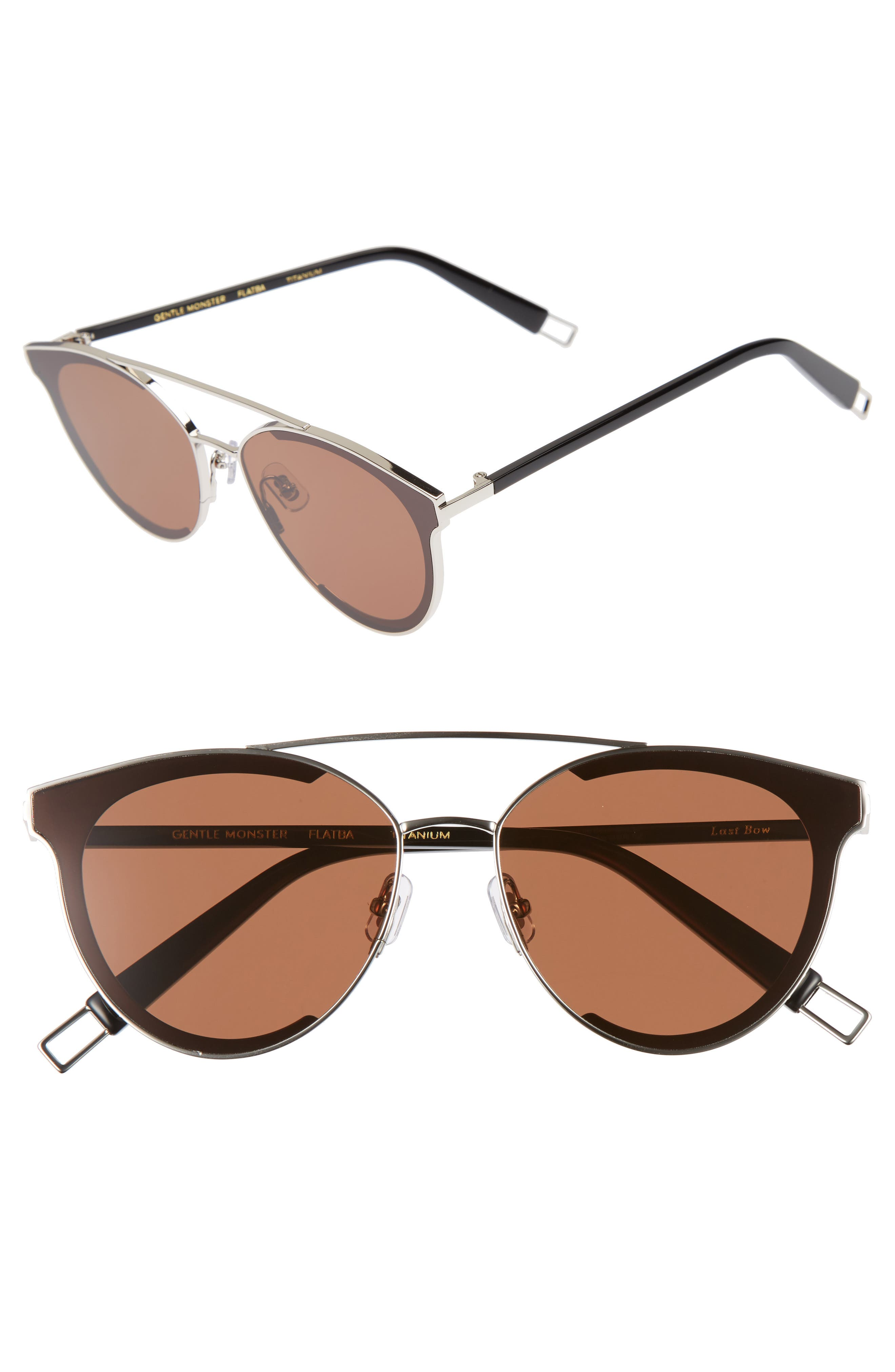 Last Bow 63mm Oversized Sunglasses,                         Main,                         color, Silver/ Brown