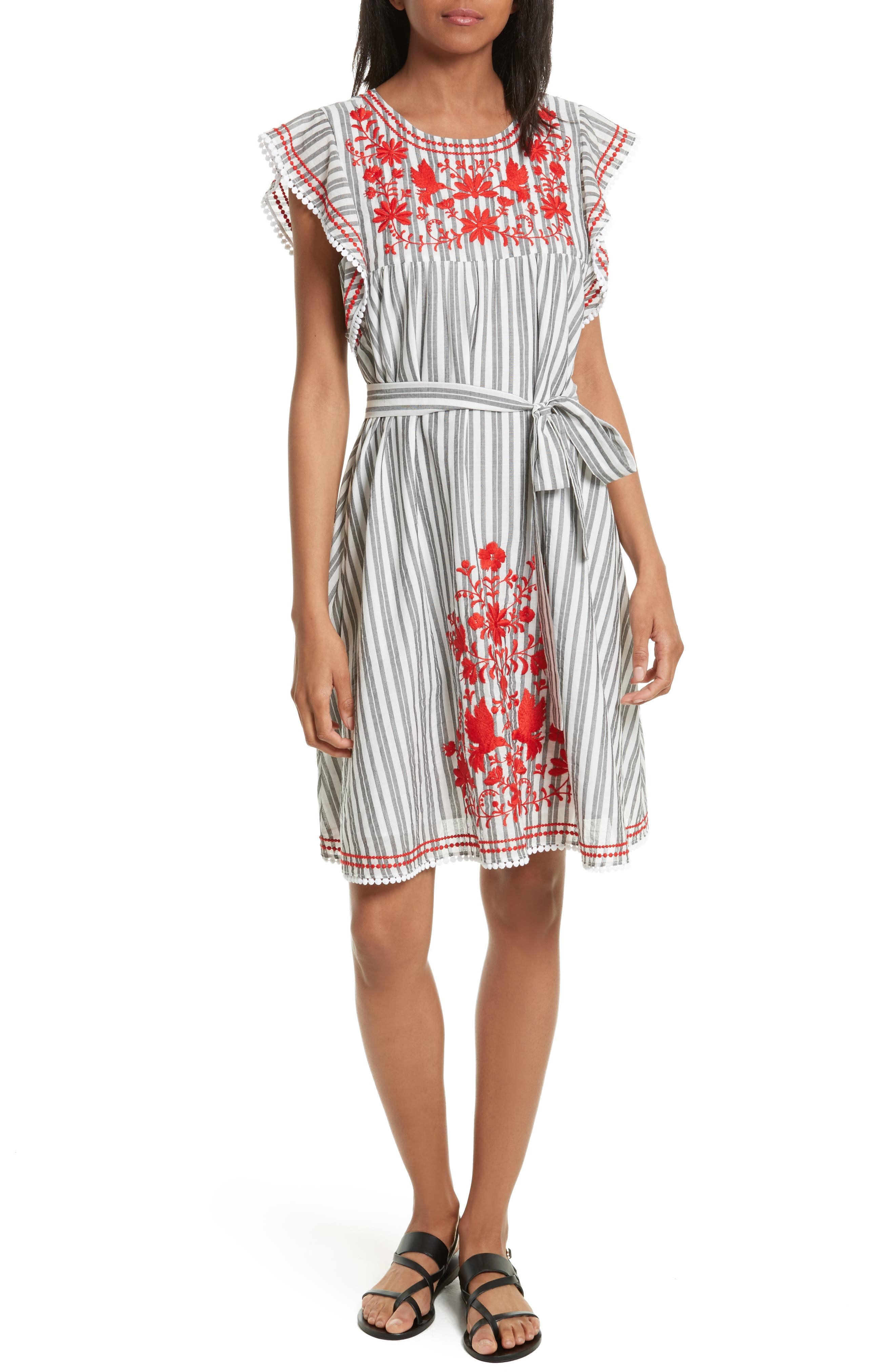 kate spade new york embroidered babydoll dress