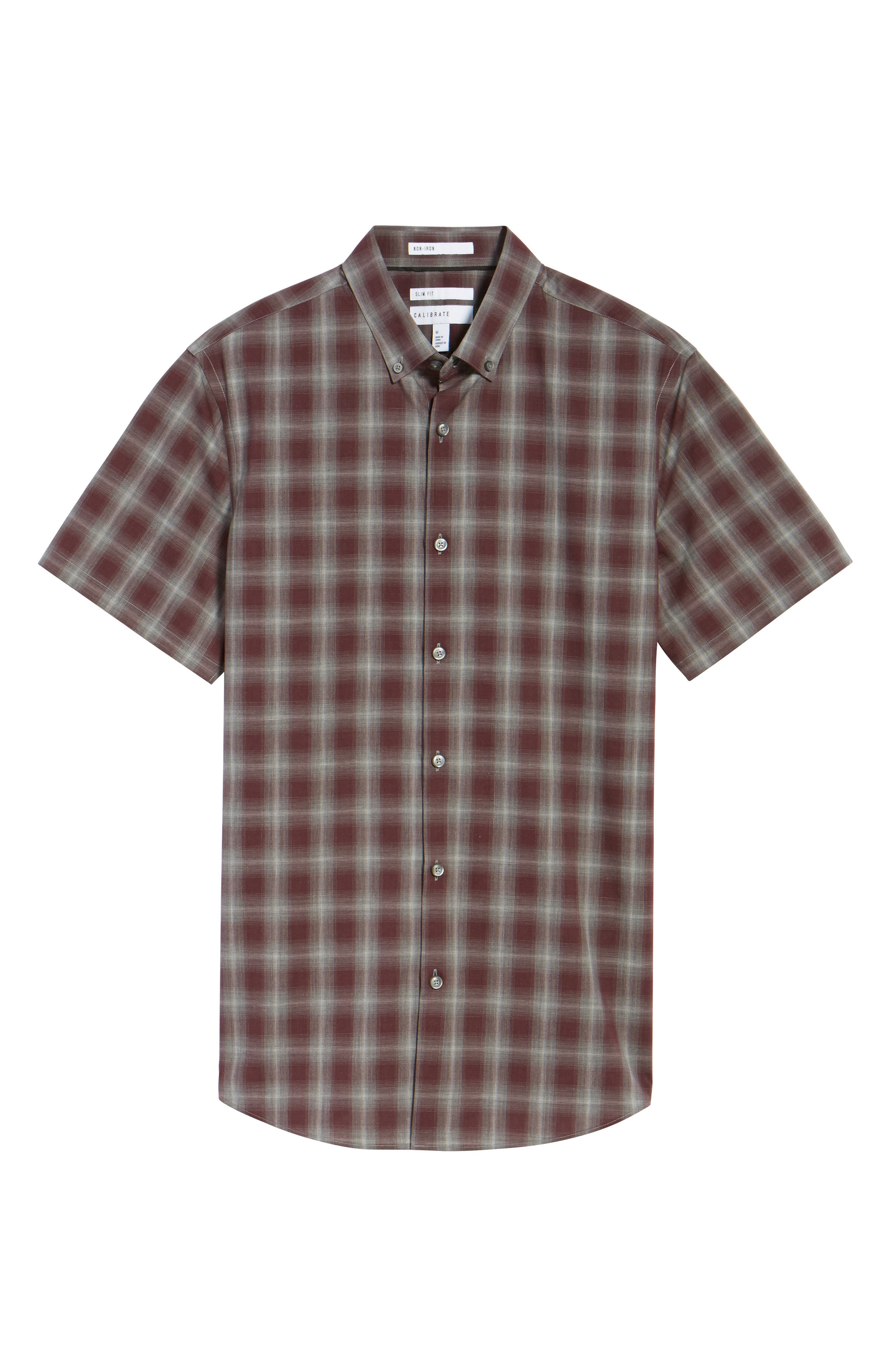Plaid Non-Iron Sport Shirt,                             Alternate thumbnail 5, color,                             Burgundy Stem Gradient Check