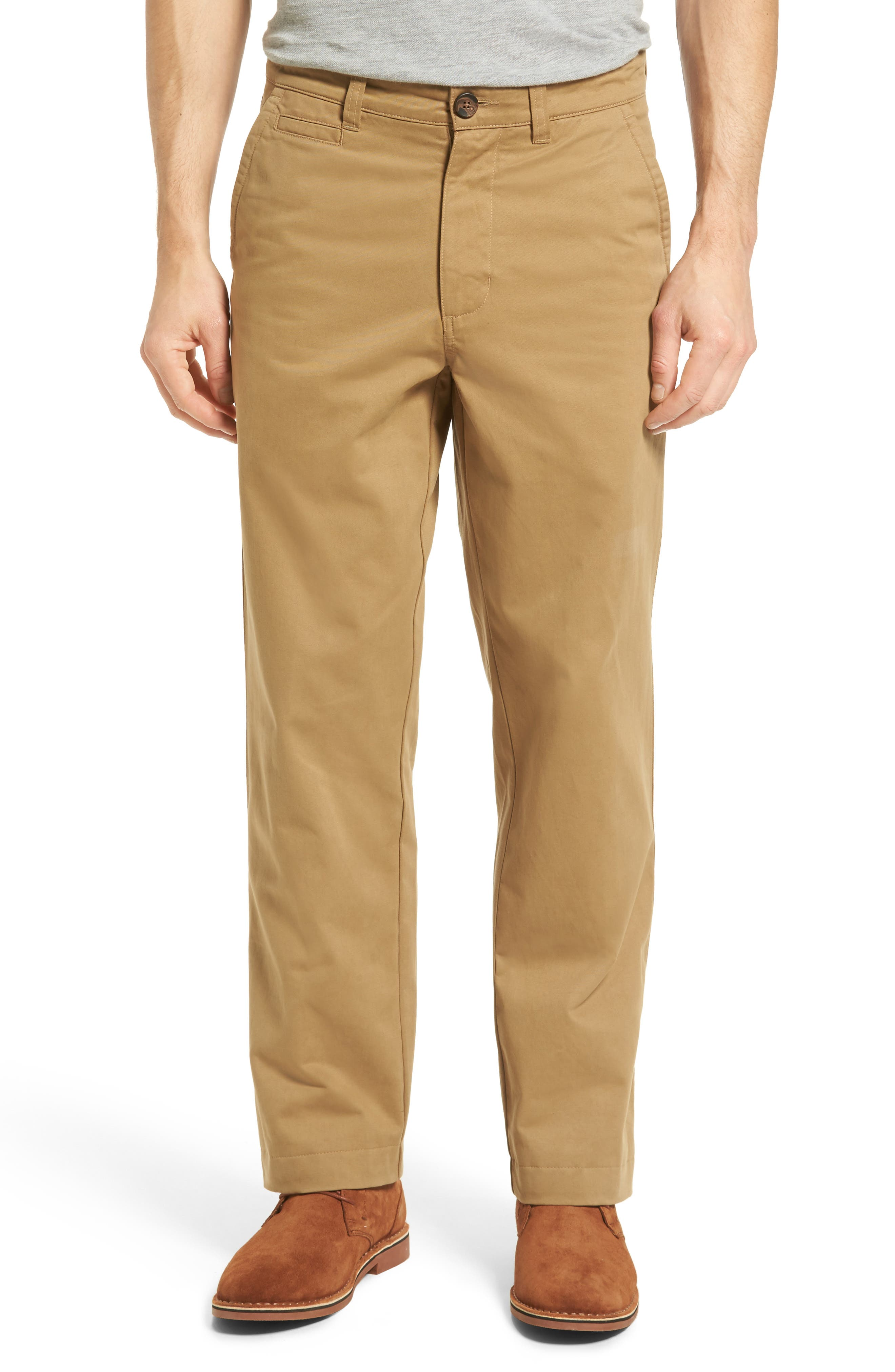 VINTAGE 1946 Classic Fit Military Chinos in Khaki
