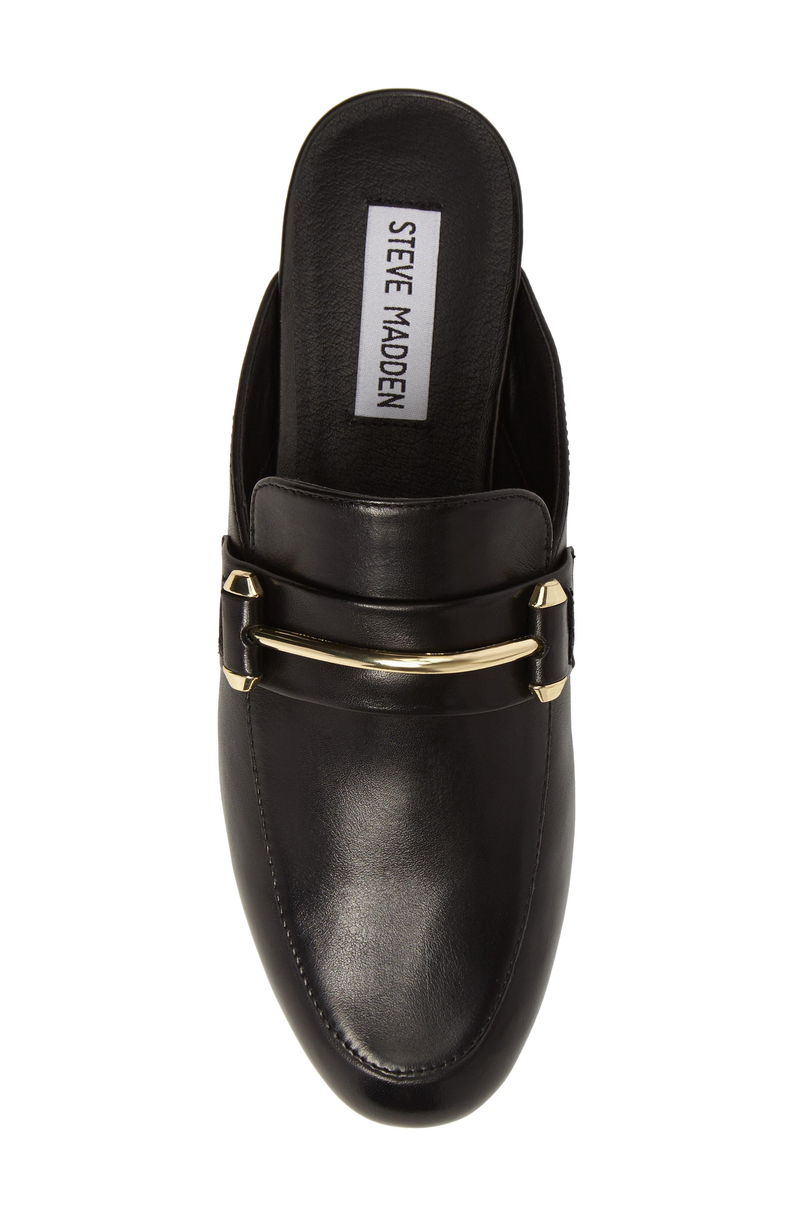Kera Flat Loafer Mule,                             Alternate thumbnail 5, color,                             Black Leather