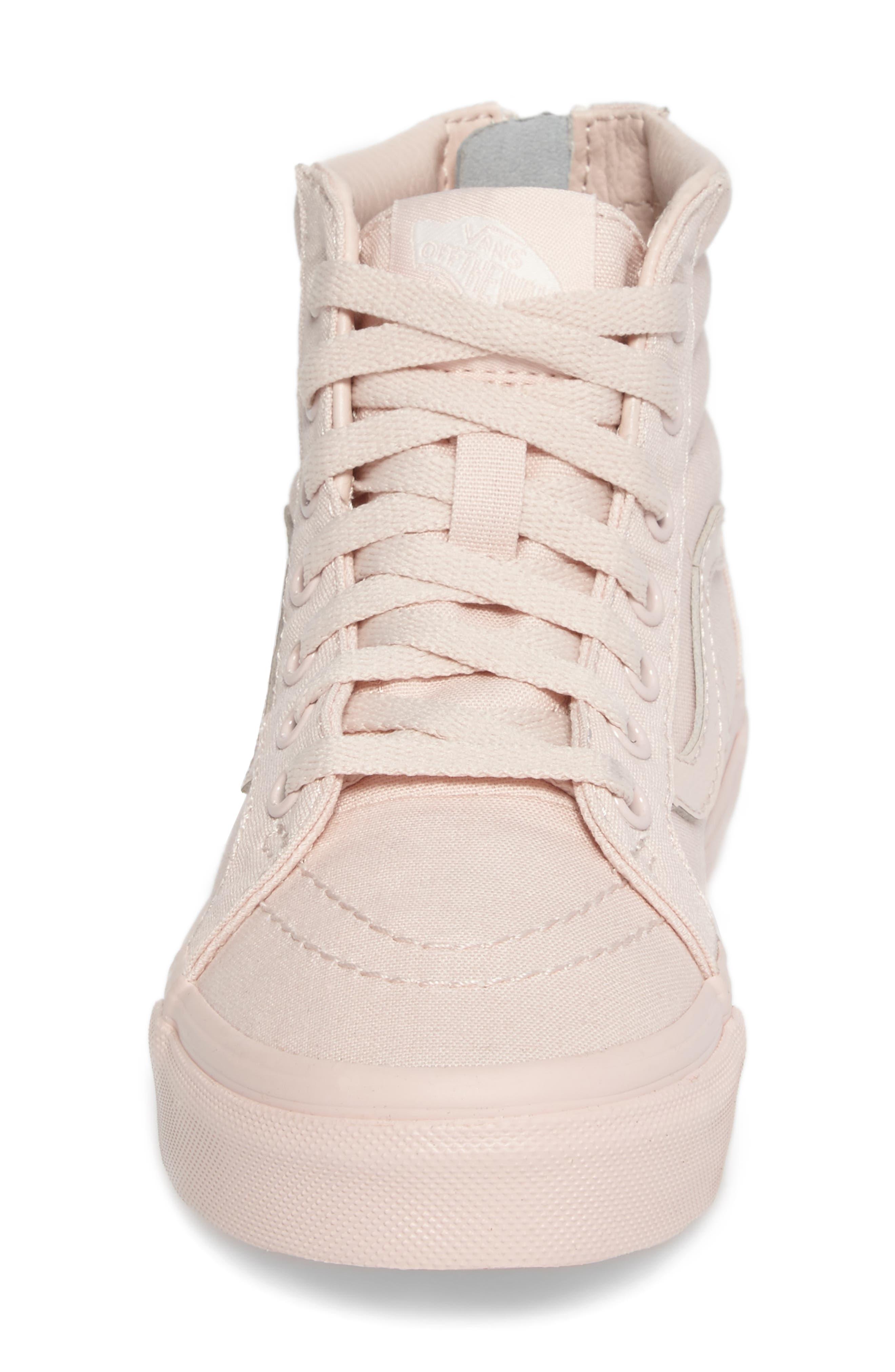 SK8-Hi Zip Sneaker,                             Alternate thumbnail 4, color,                             Peach Blush Canvas