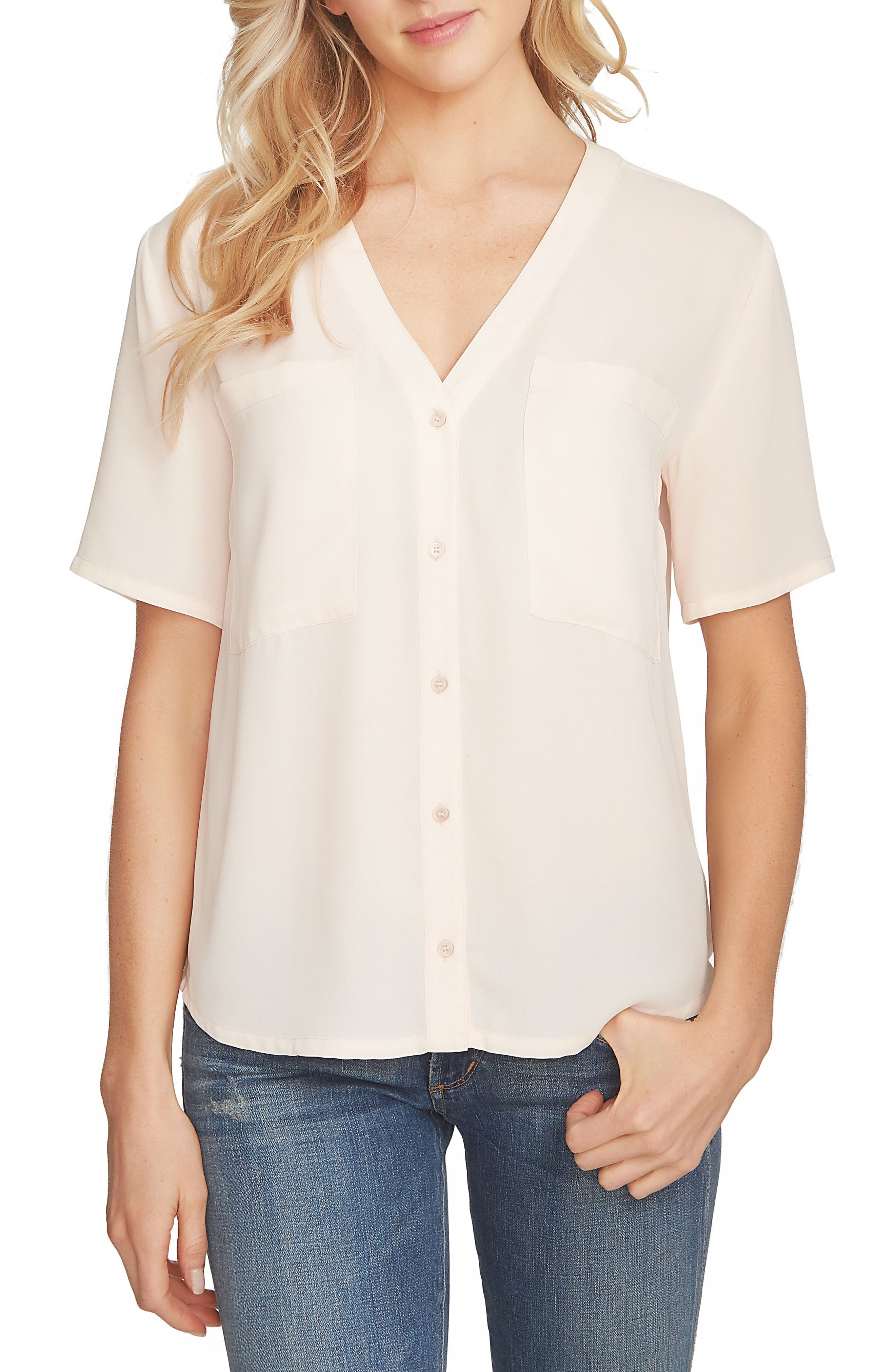 Main Image - 1.STATE V-Neck Button Front Blouse