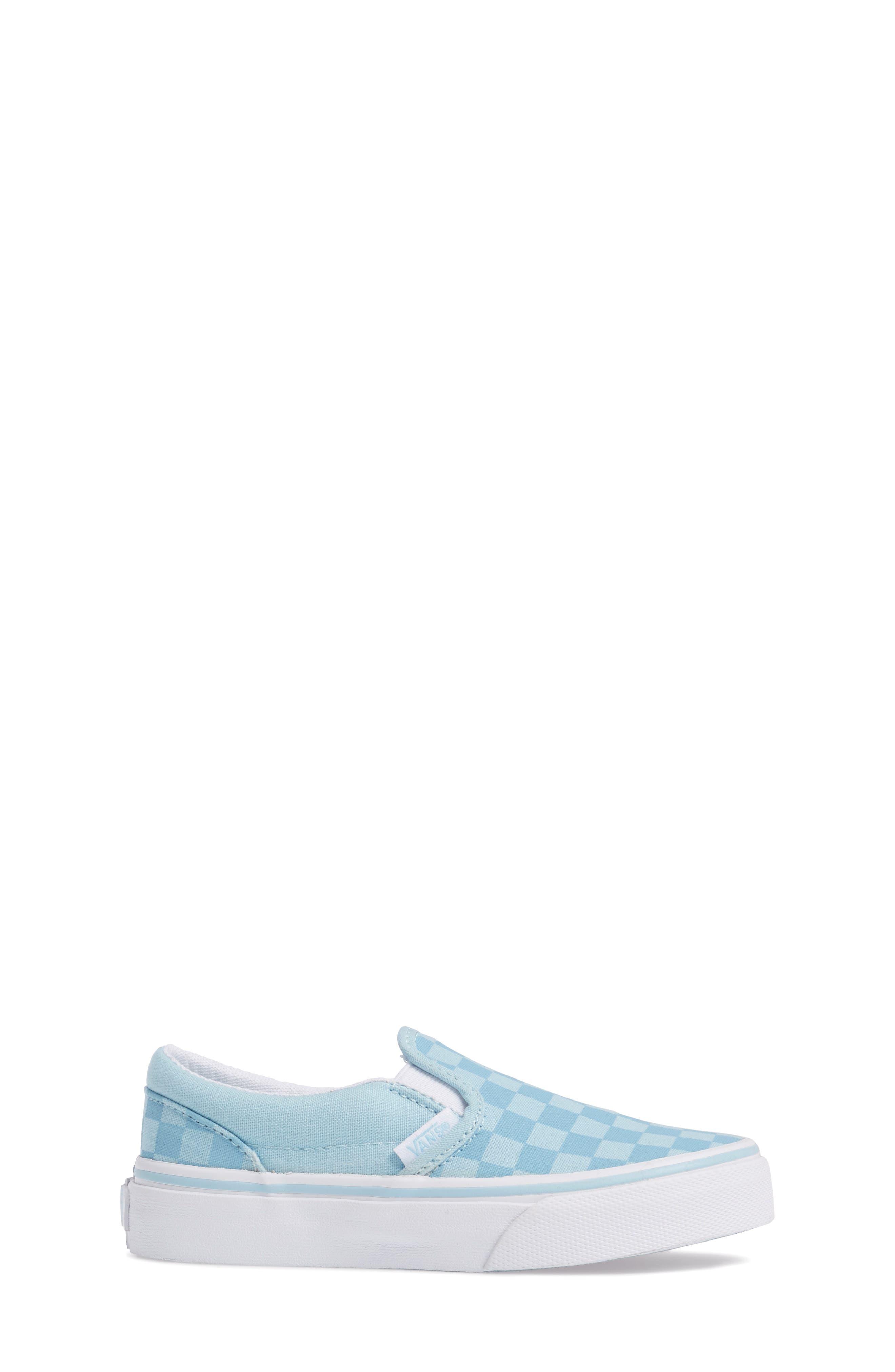 Classic Slip-On Sneaker,                             Alternate thumbnail 3, color,                             Crystal Blue Tonal Check