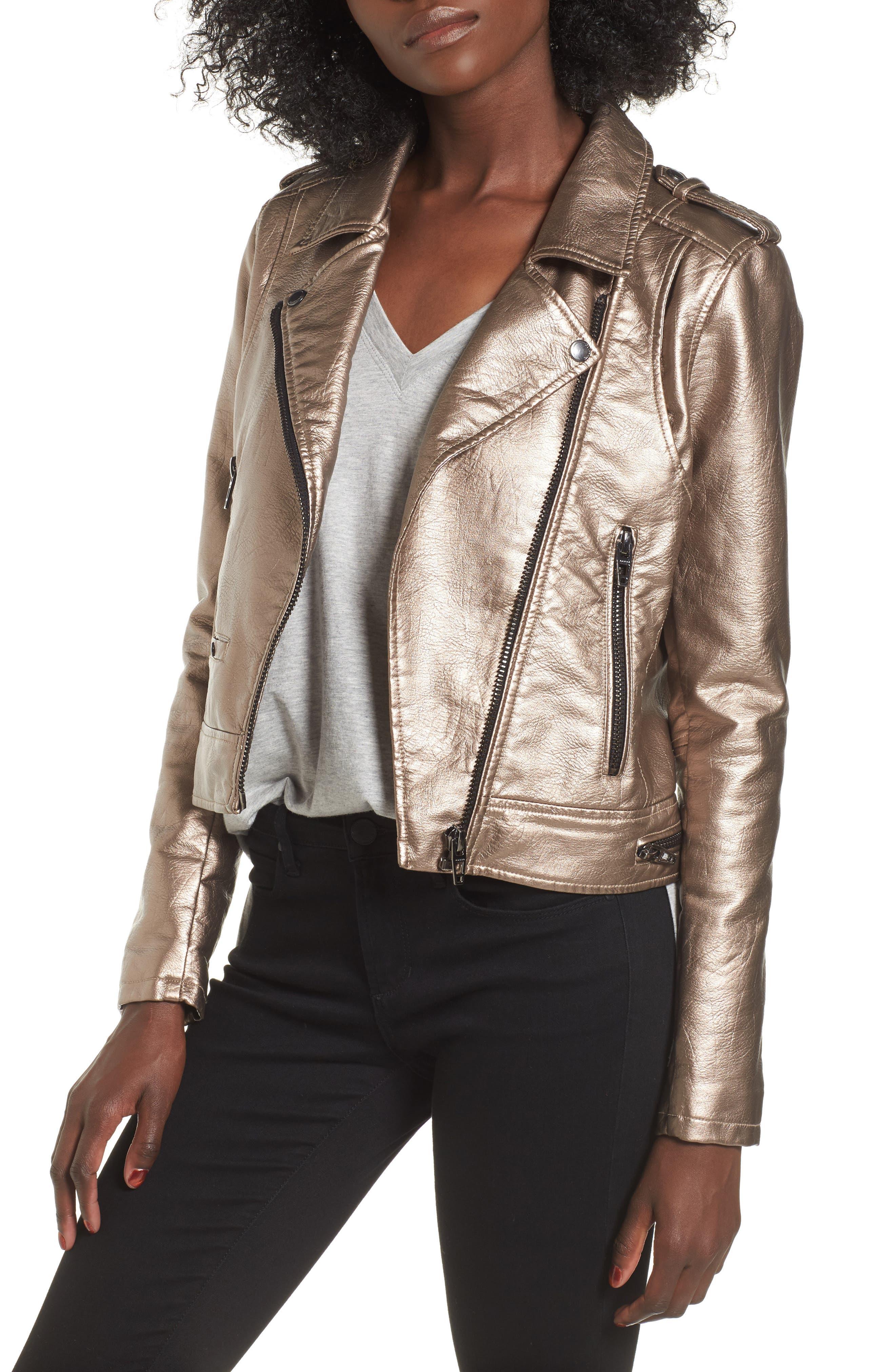 Metallic Faux Leather Moto Jacket,                         Main,                         color, Silver Glow