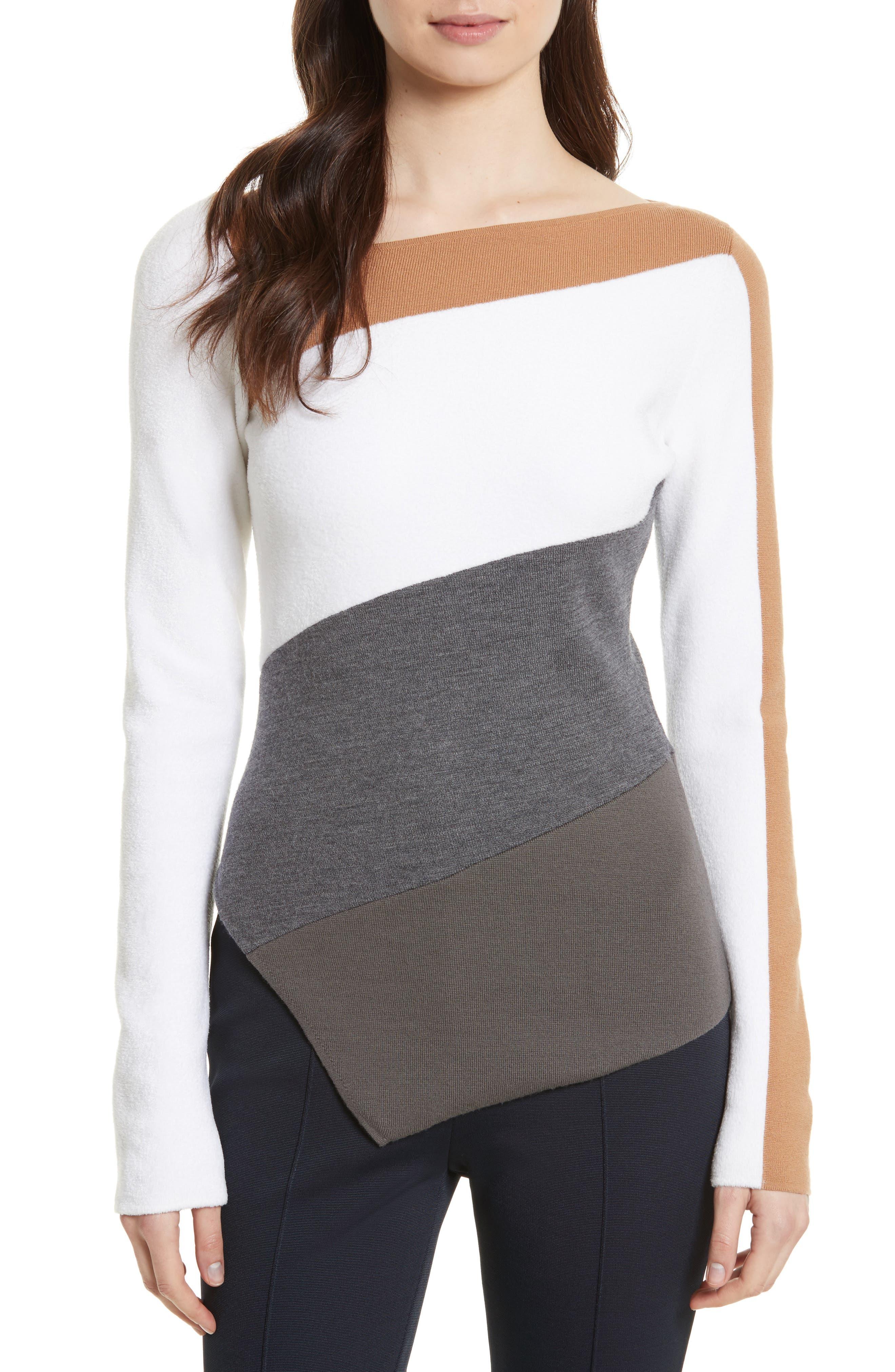 Alternate Image 1 Selected - Diane von Furstenberg Colorblock Asymmetrical Top