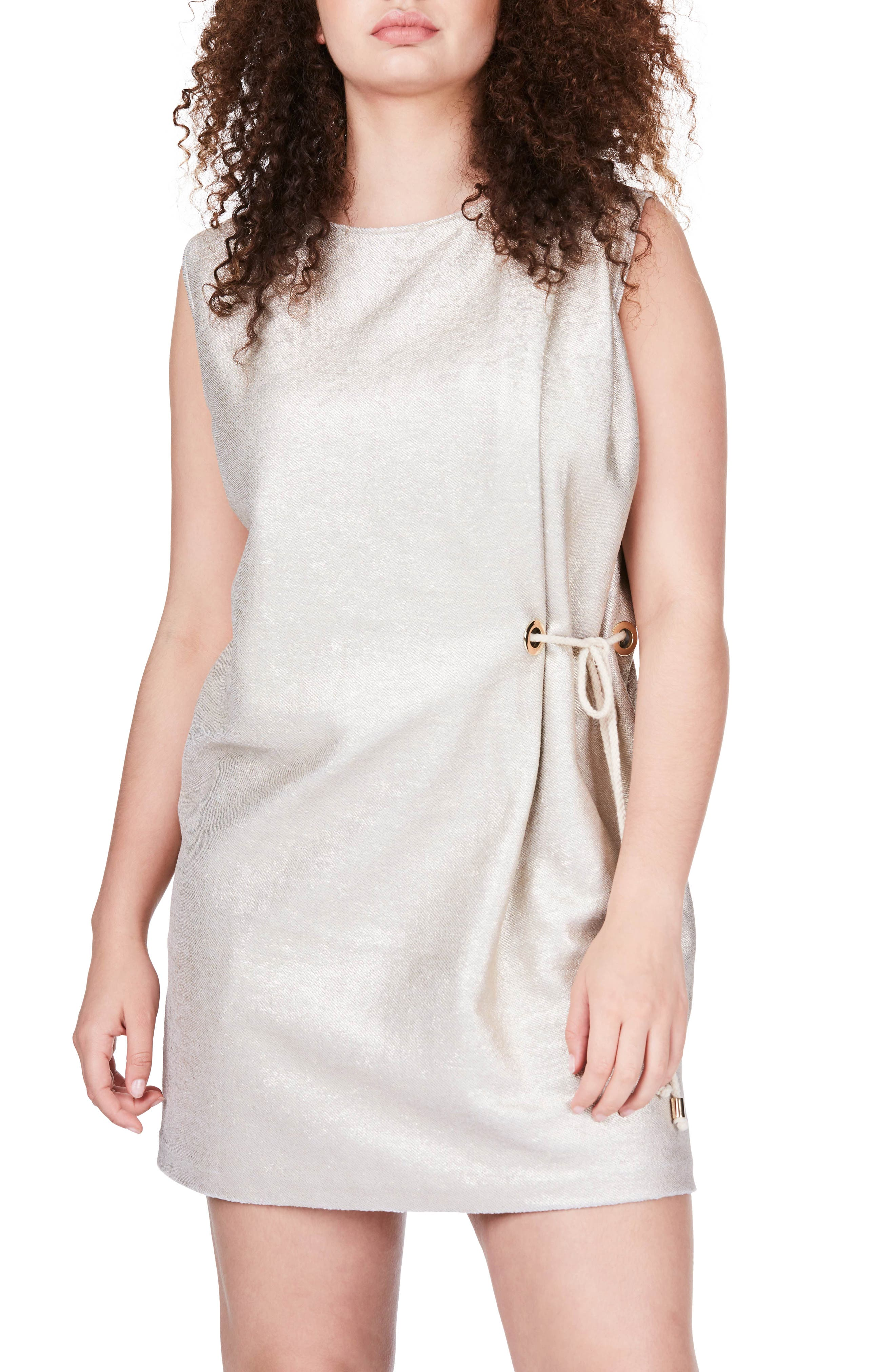 Side Tie Minidress,                             Main thumbnail 1, color,                             Gold