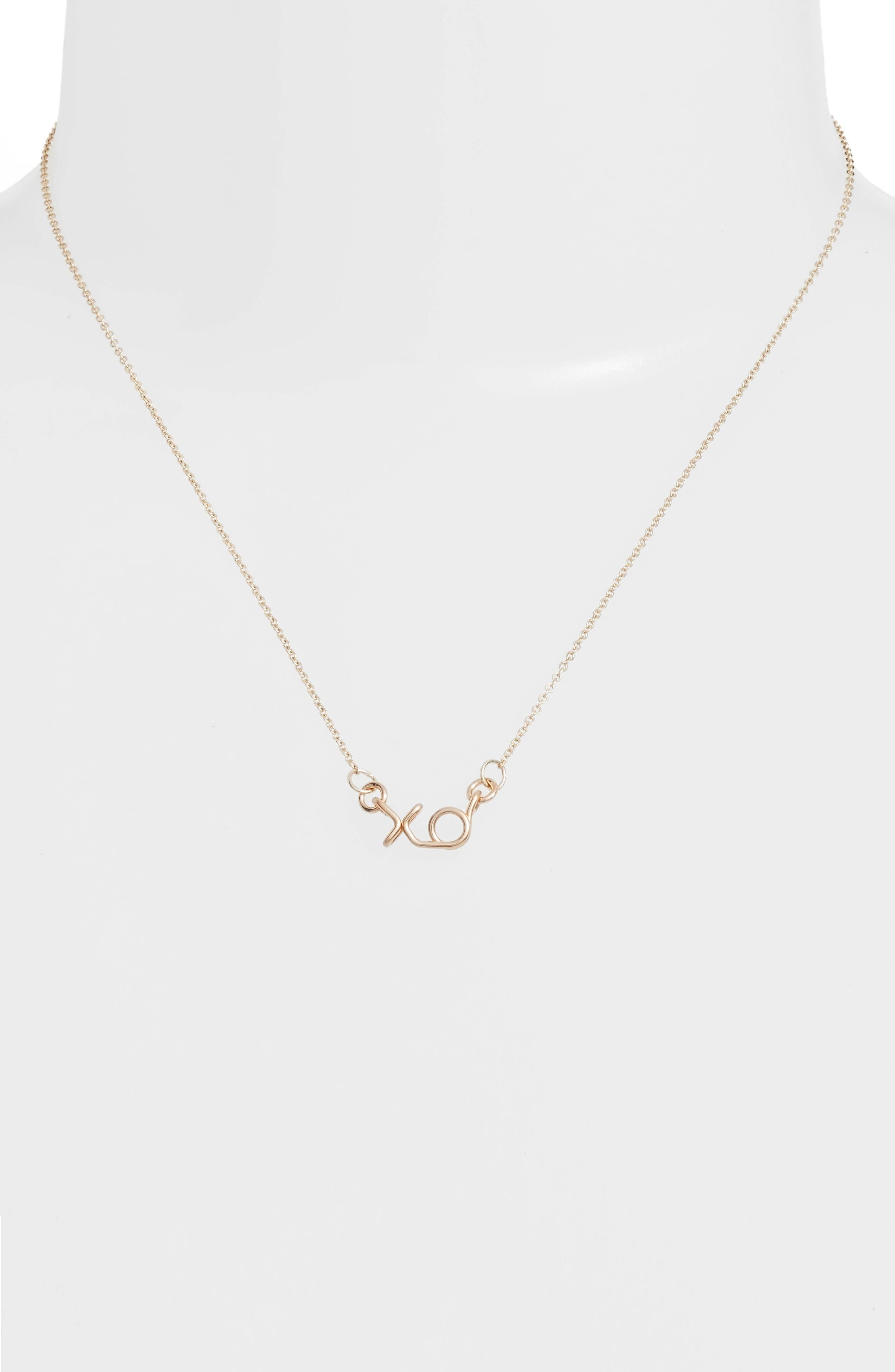 Mini XO Pendant Necklace,                             Alternate thumbnail 2, color,                             Gold