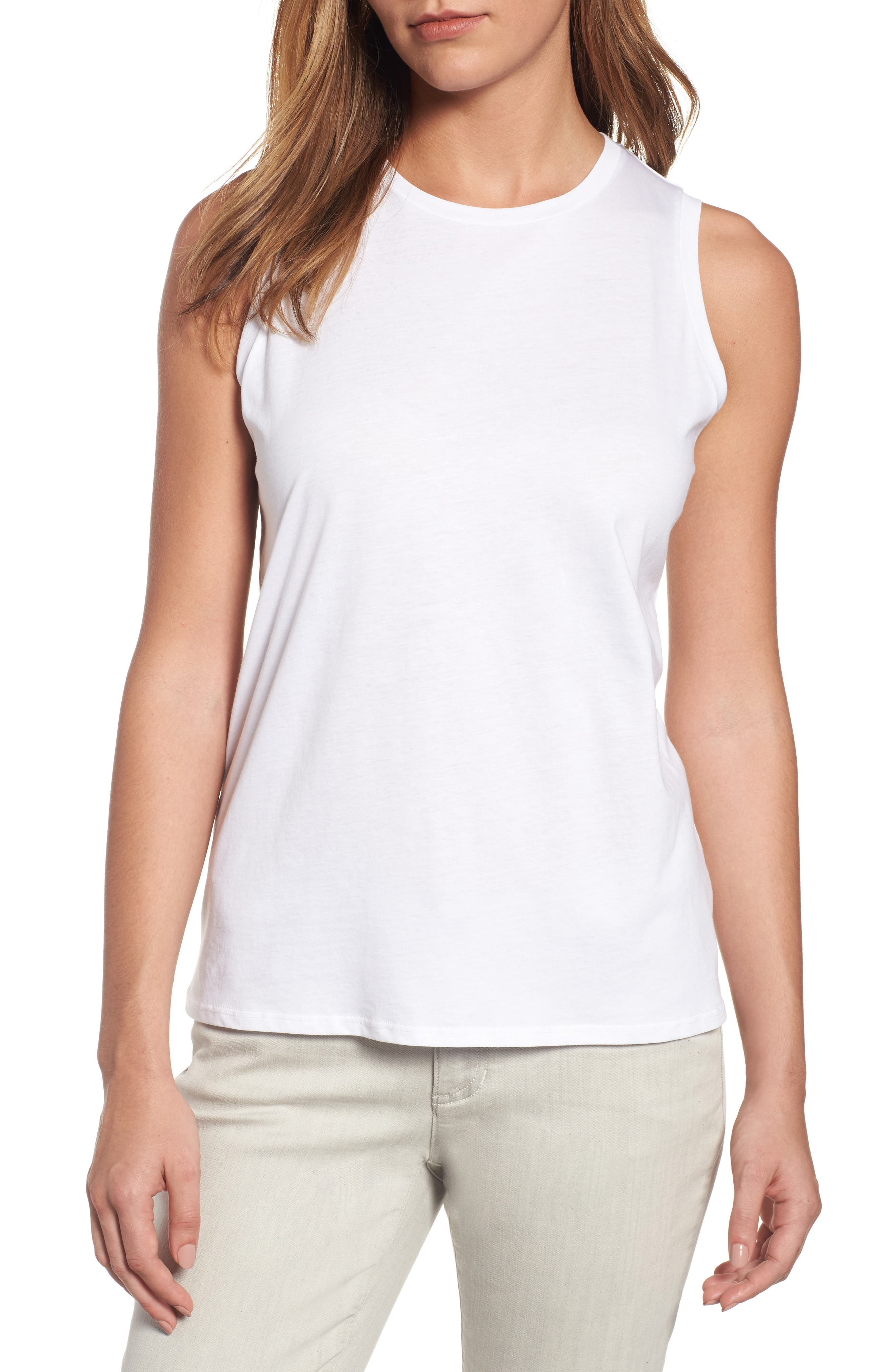 Eileen Fisher Organic Cotton Jersey Shell (Regular & Petite)