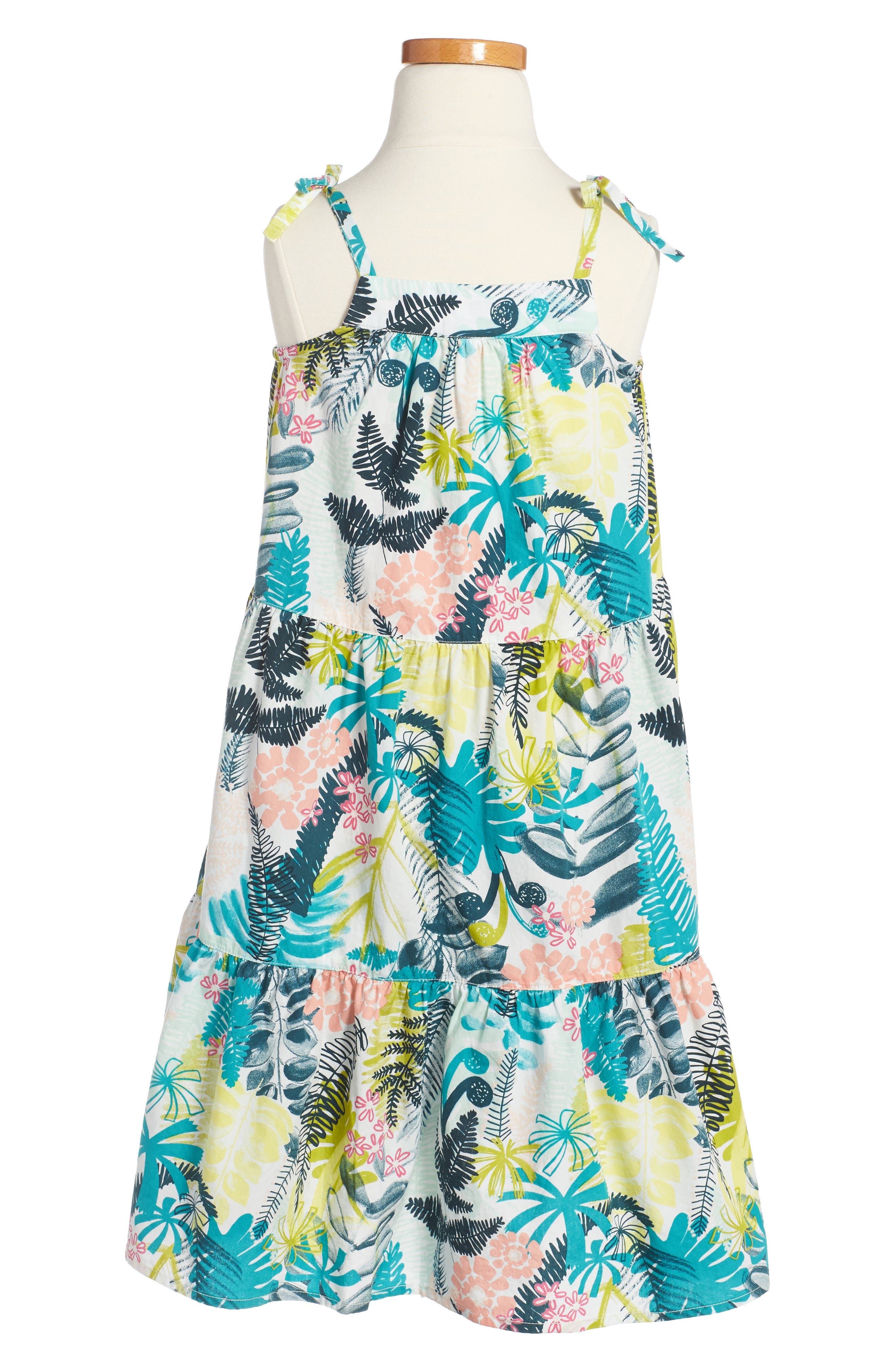 Wujal Wujal Print Tiered Sundress,                             Alternate thumbnail 2, color,                             Chalk