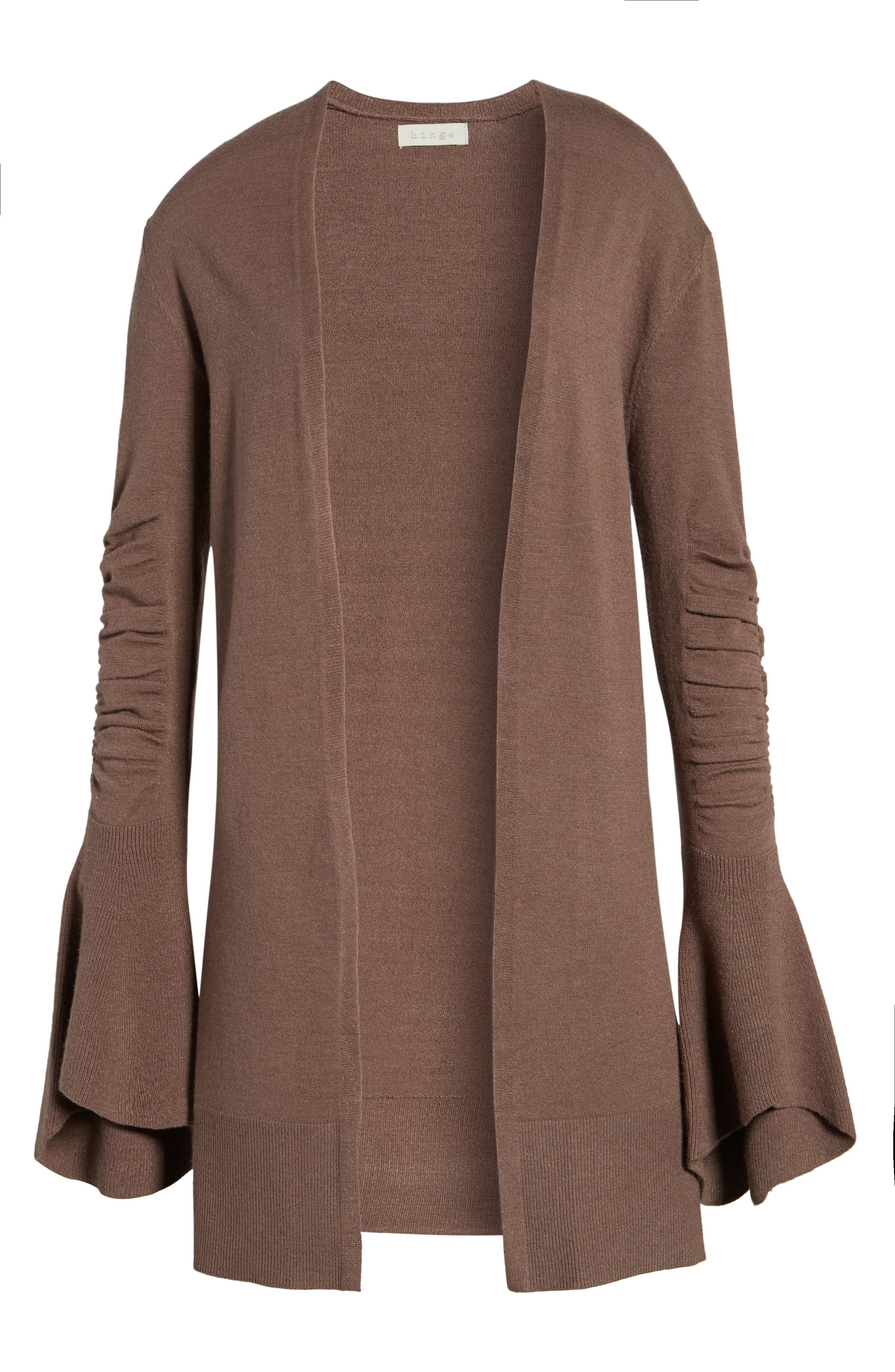 Ruched Bell Sleeve Cardigan,                             Alternate thumbnail 6, color,                             Brown Taupe