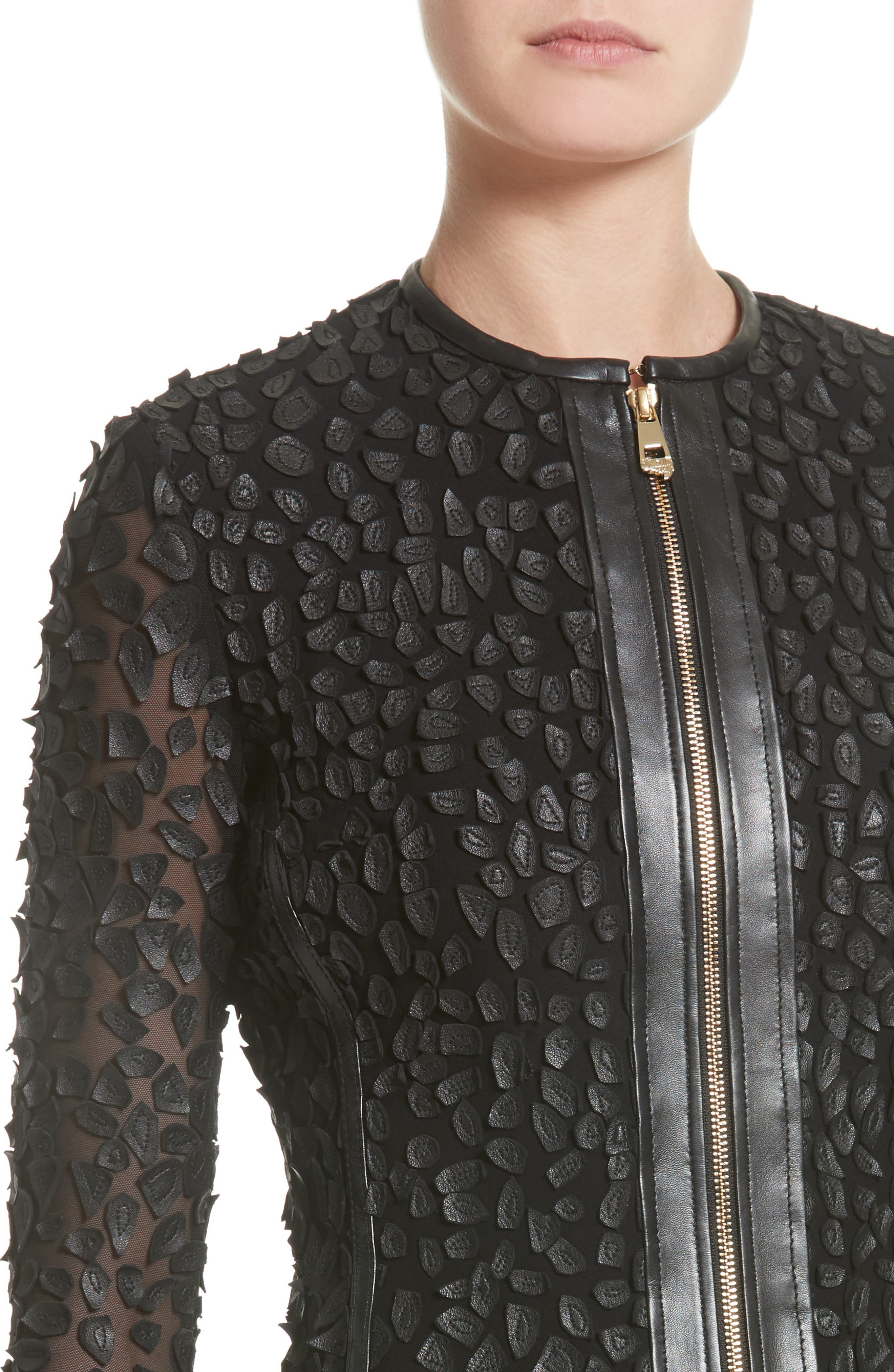 Alternate Image 4  - Versace Collection Pieced Leather Jacket