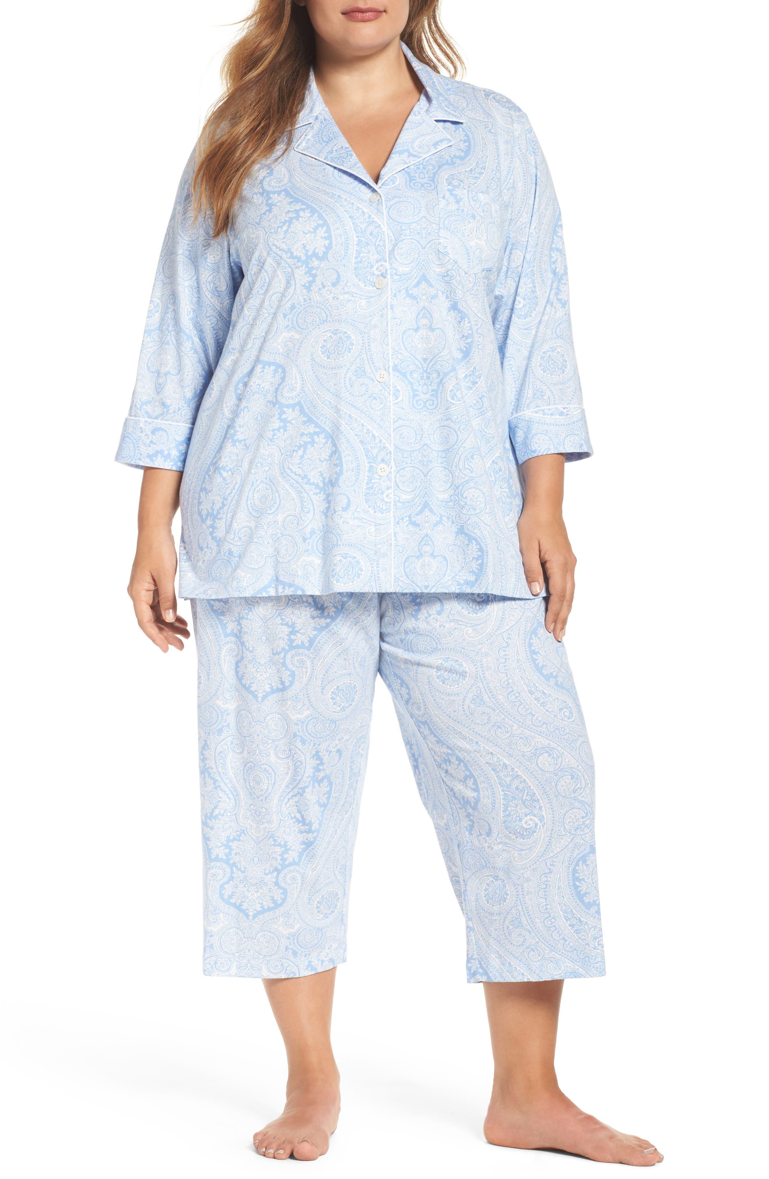Alternate Image 1 Selected - Lauren Ralph Lauren Knit Crop Pajamas (Plus Size) (Online Only)