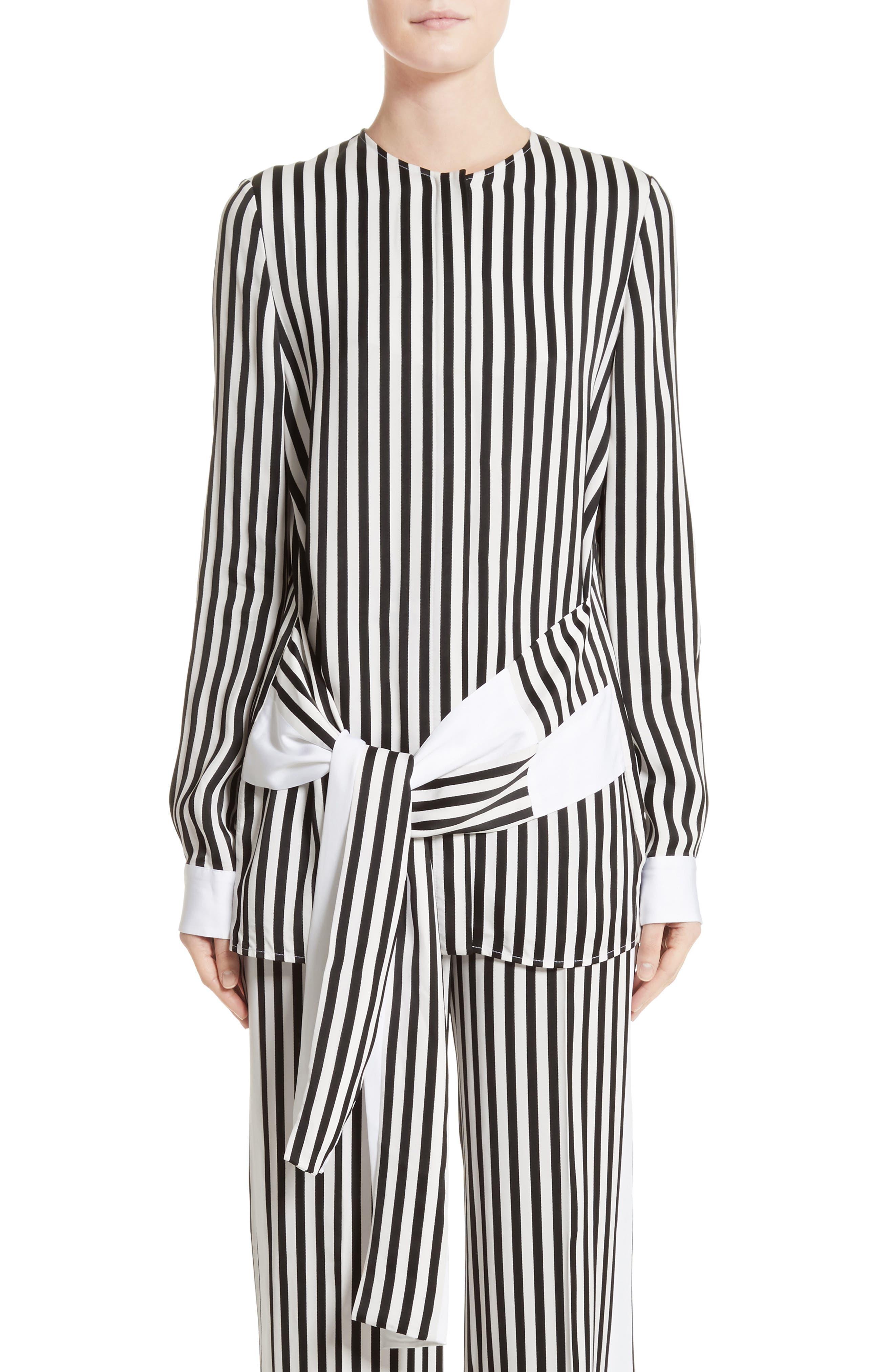 Stripe Tie Waist Blouse,                         Main,                         color, Black/ White