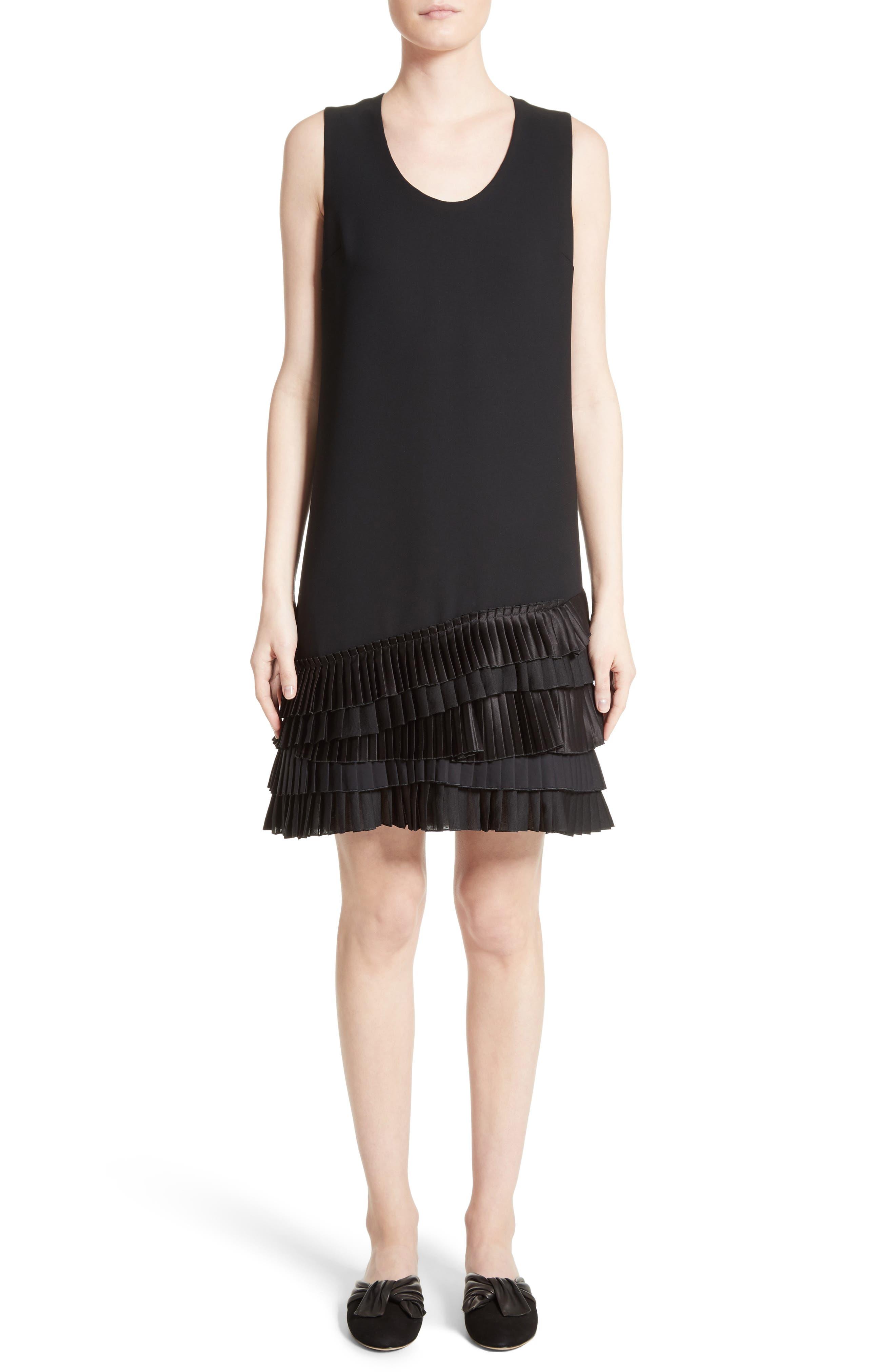 Pleated Hem Shift Dress,                         Main,                         color, Black