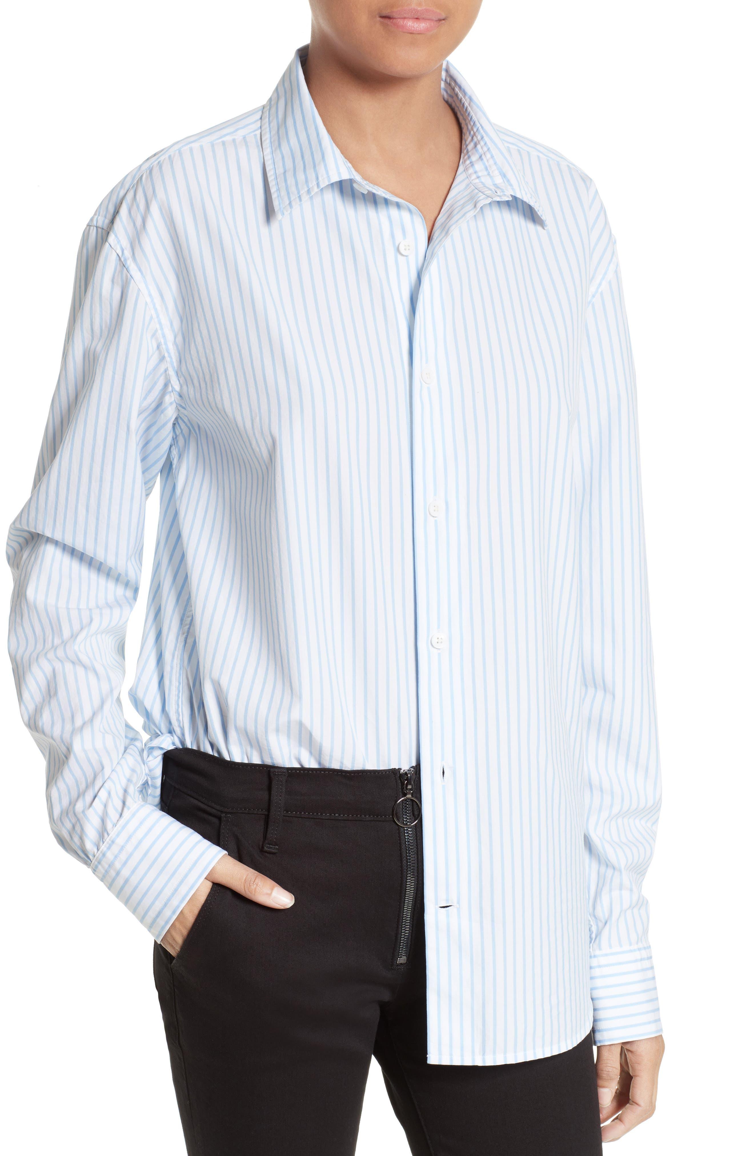 Stripe Poplin Shirt,                             Alternate thumbnail 5, color,                             Capri Blue Multi