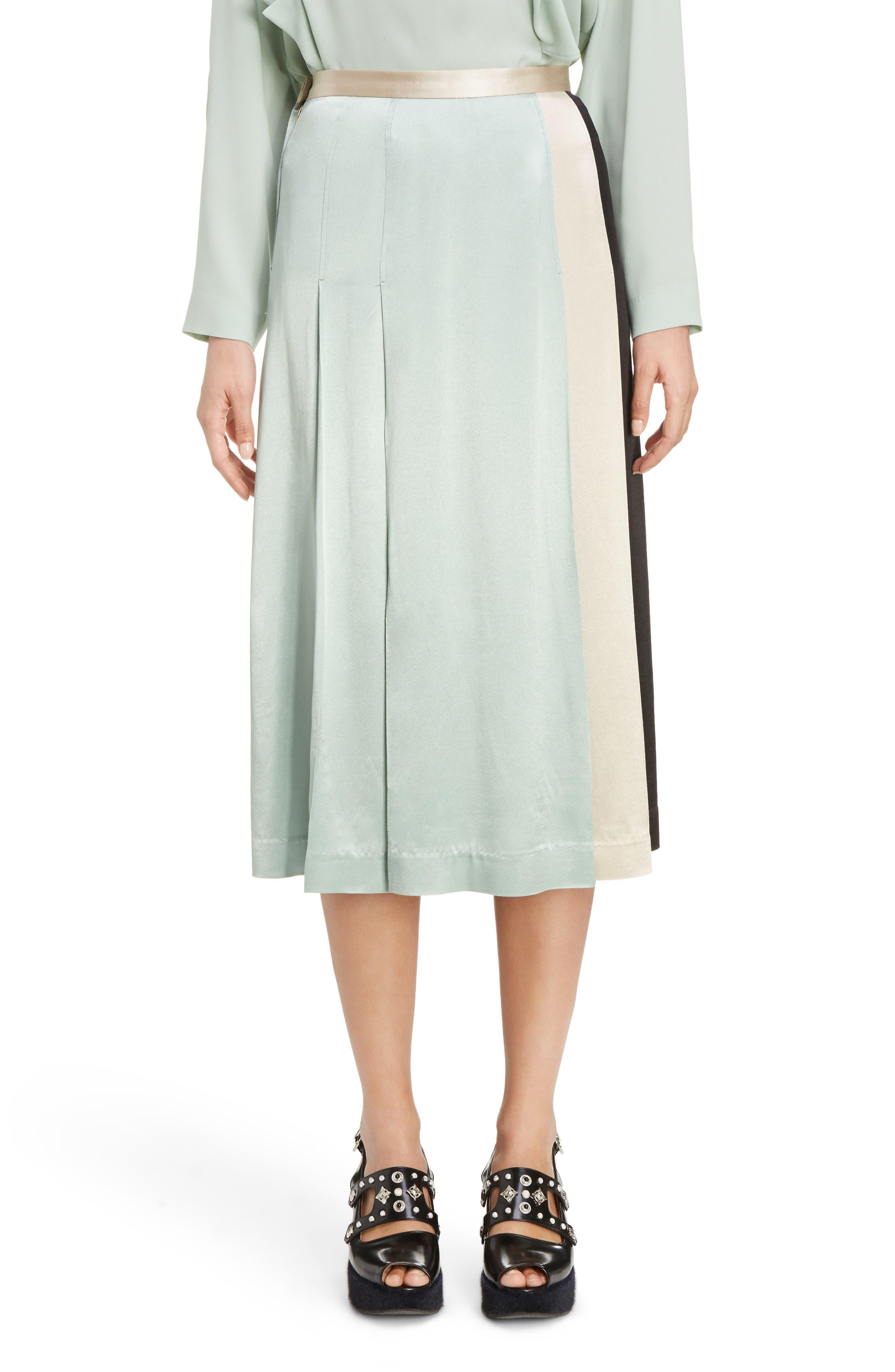 Pleated Satin Skirt,                         Main,                         color, Light Green
