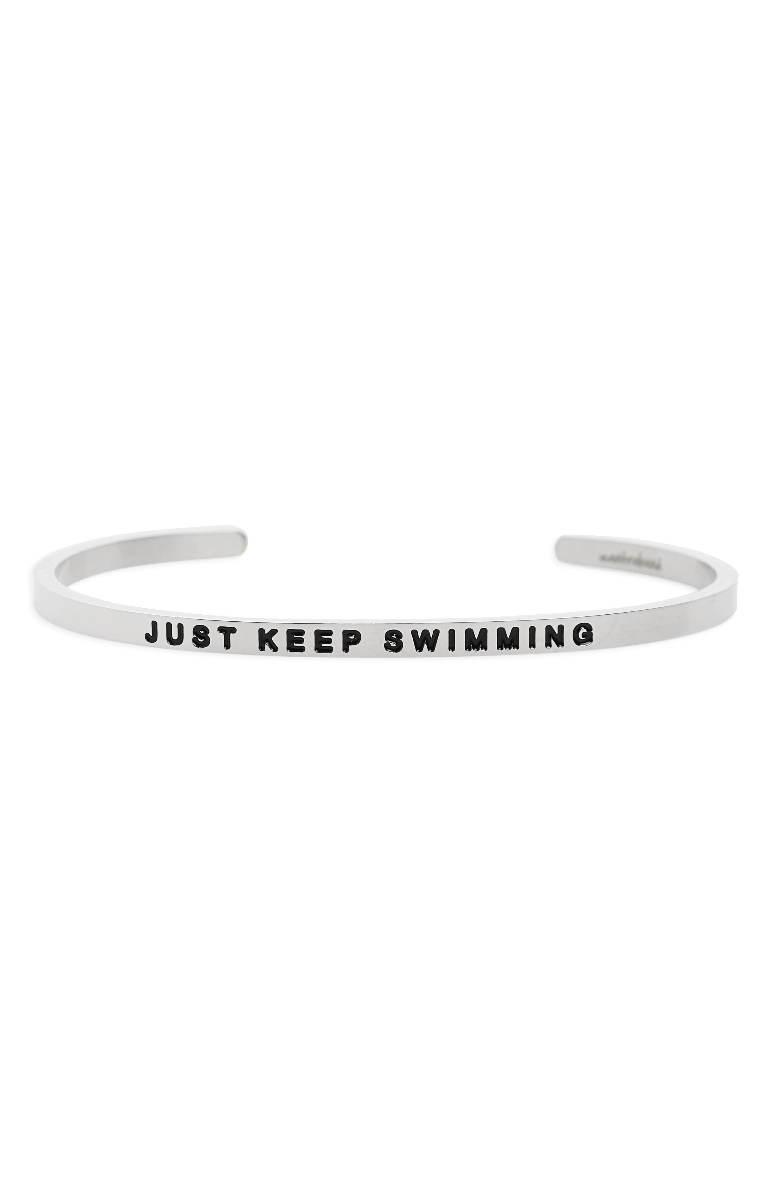 Just Keep Swimming Engraved Cuff,                         Main,                         color, Silver