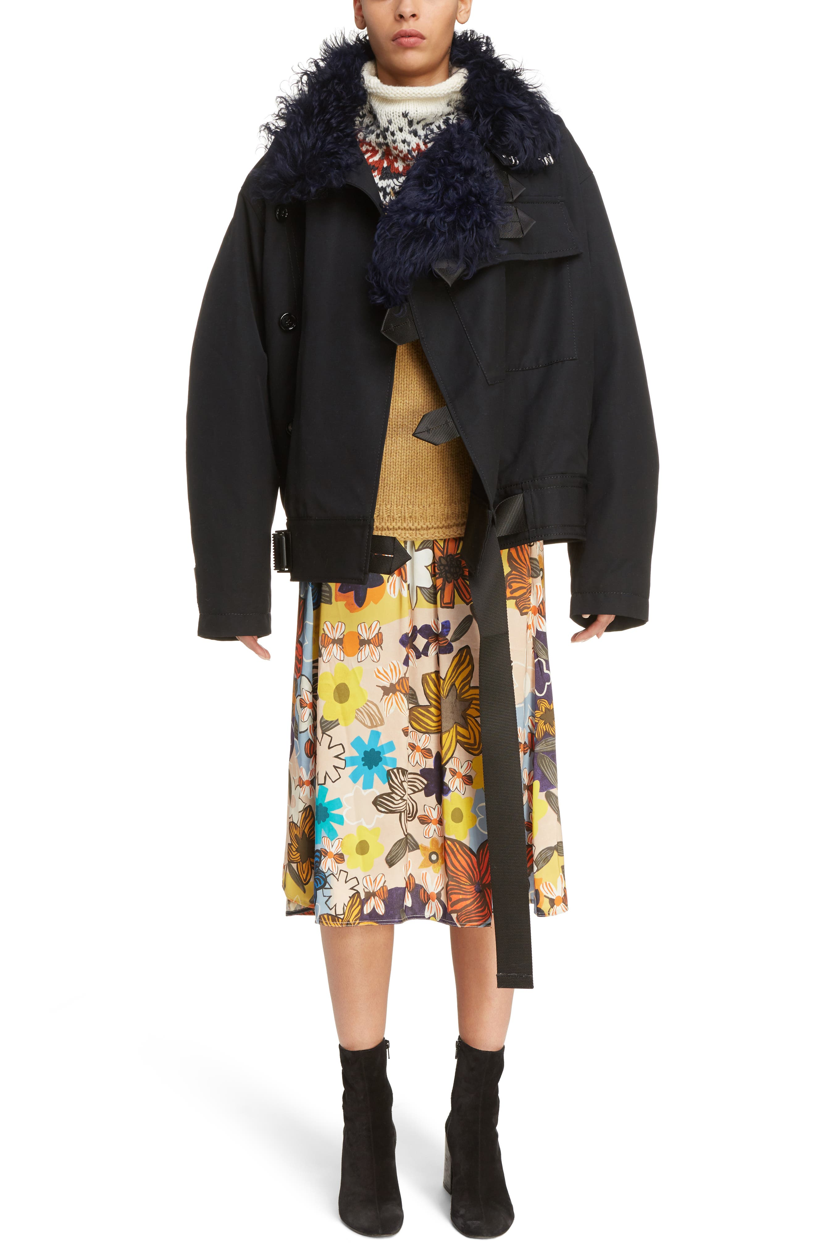 Cees Coat with Genuine Shearling Trim,                         Main,                         color, Black
