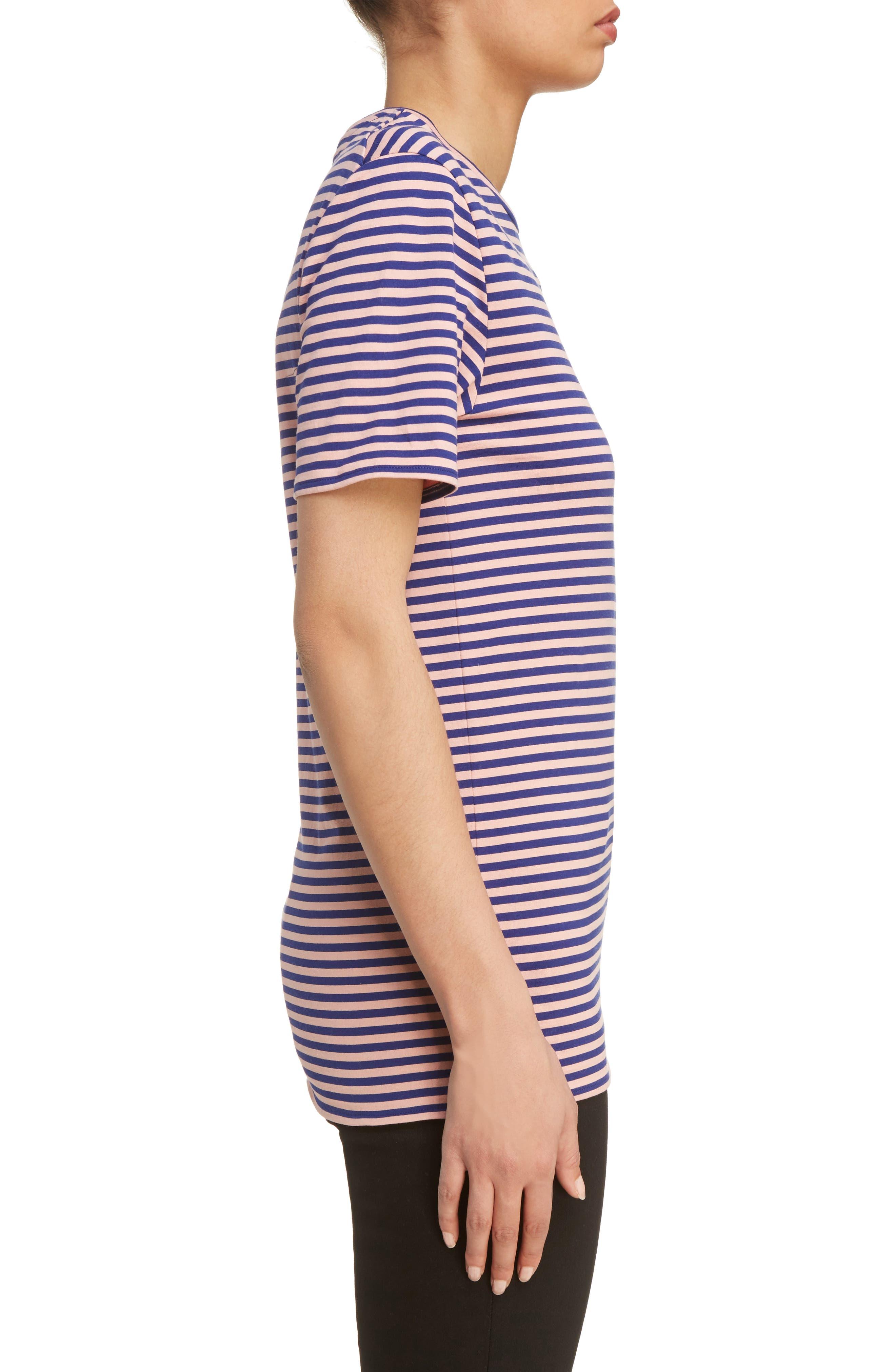 Napa Face Stripe Tee,                             Alternate thumbnail 4, color,                             Pale Pink/ Royal Blue