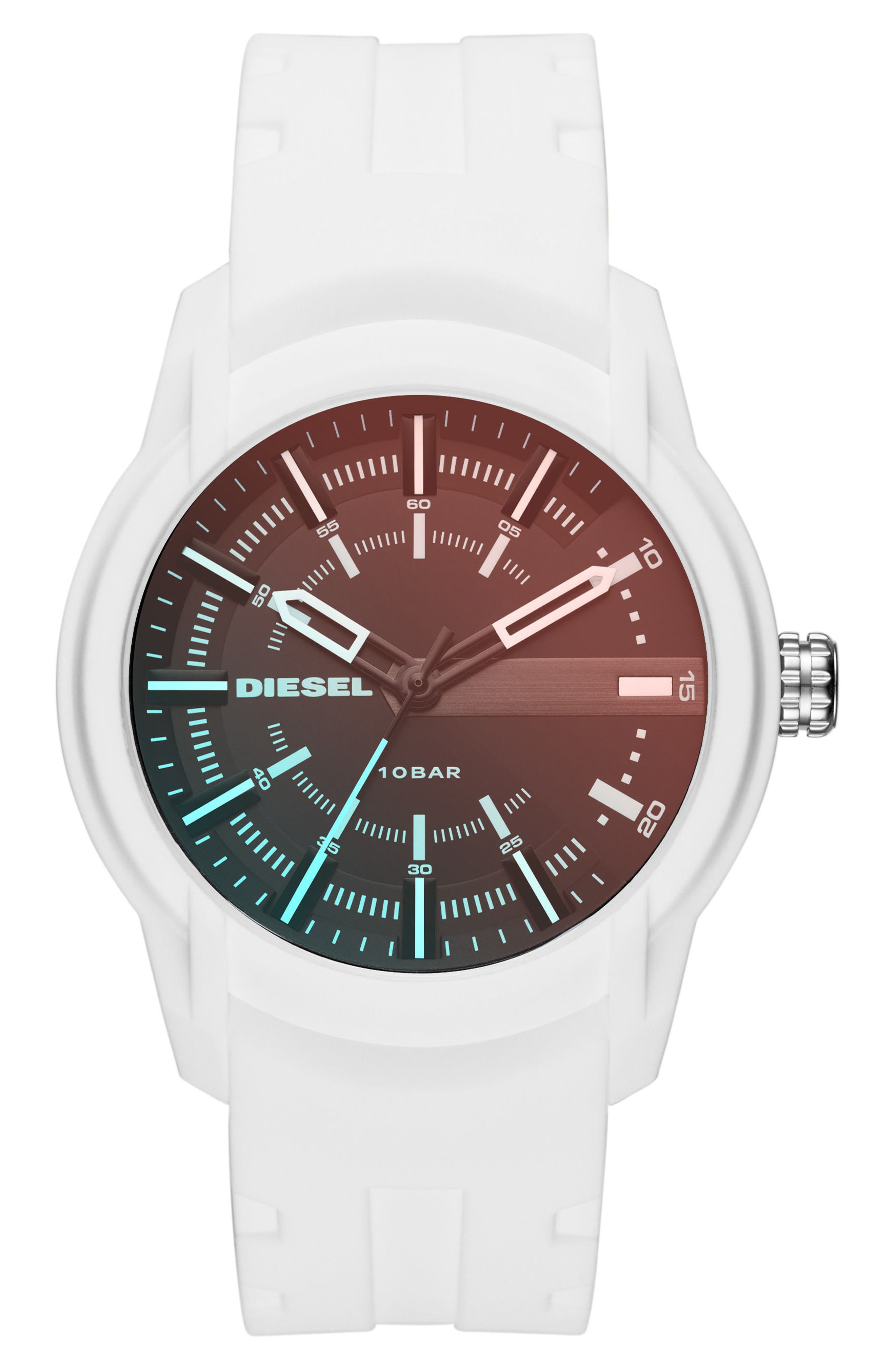 DIESEL<SUP>®</SUP> Rasp Silicone Strap Watch, 45mm