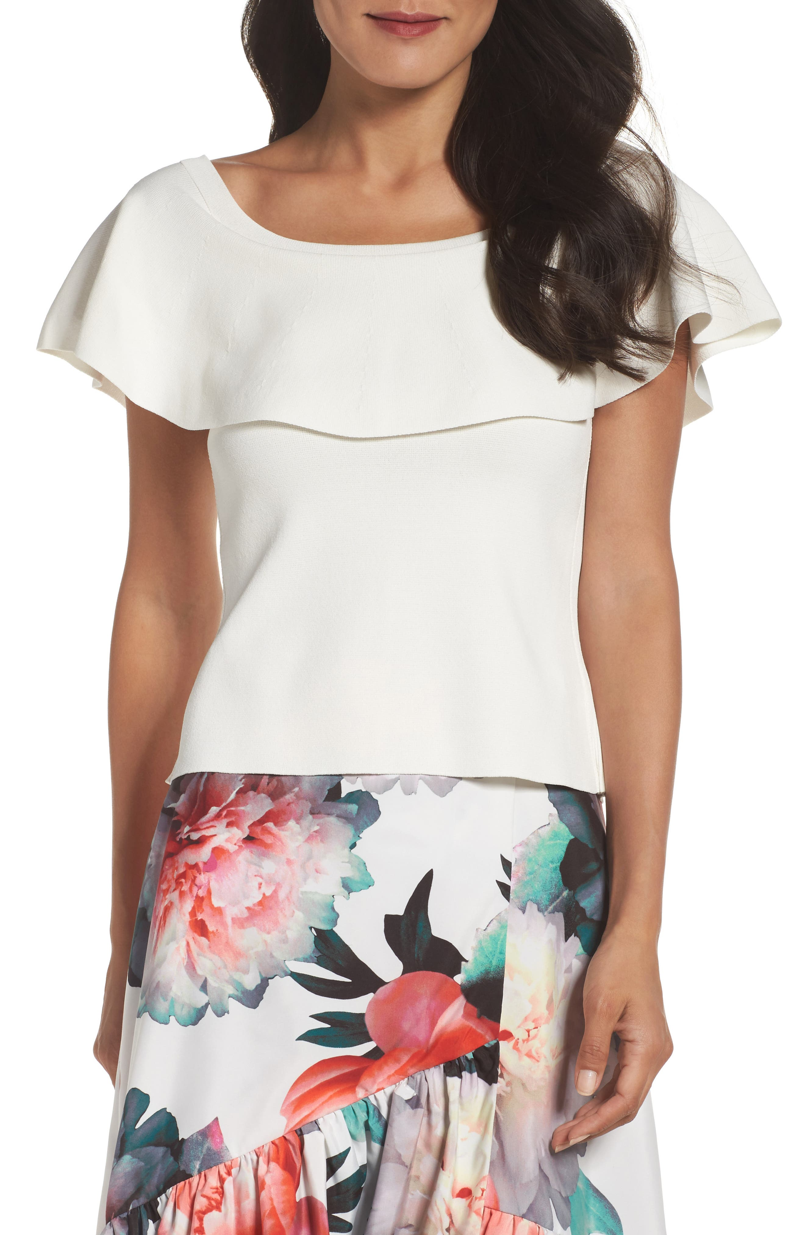 Ruffle Top,                         Main,                         color, Ivory
