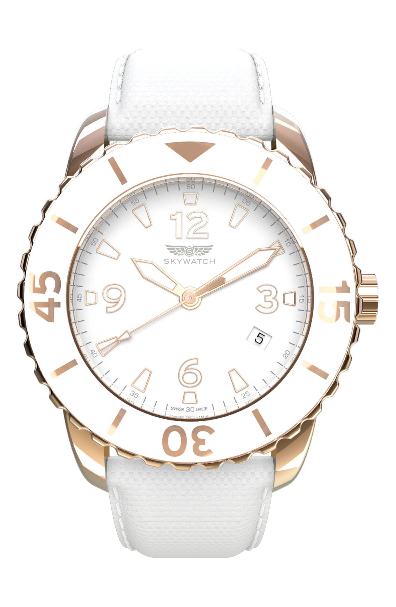 Classic Woven Strap Watch, 44mm,                             Main thumbnail 1, color,                             White/ White