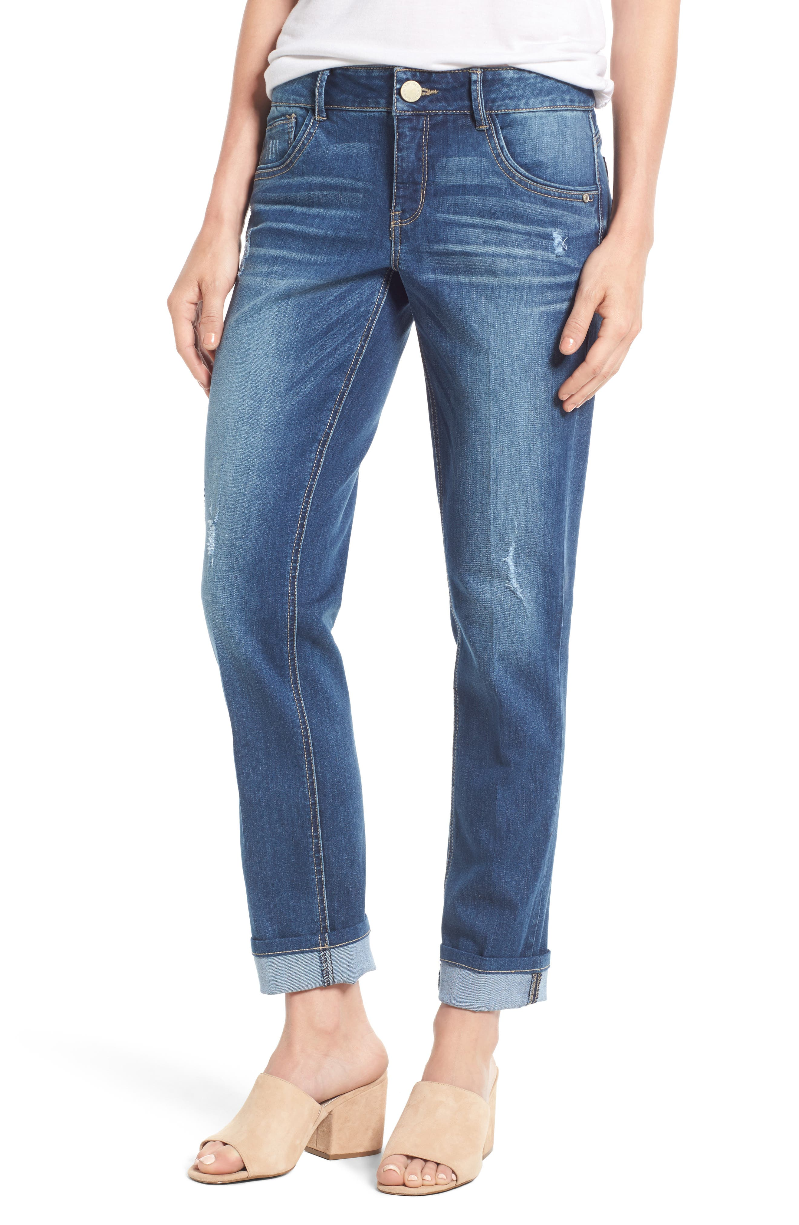 WIT & WISDOM Ripped Slim Straight Leg Ankle Jeans