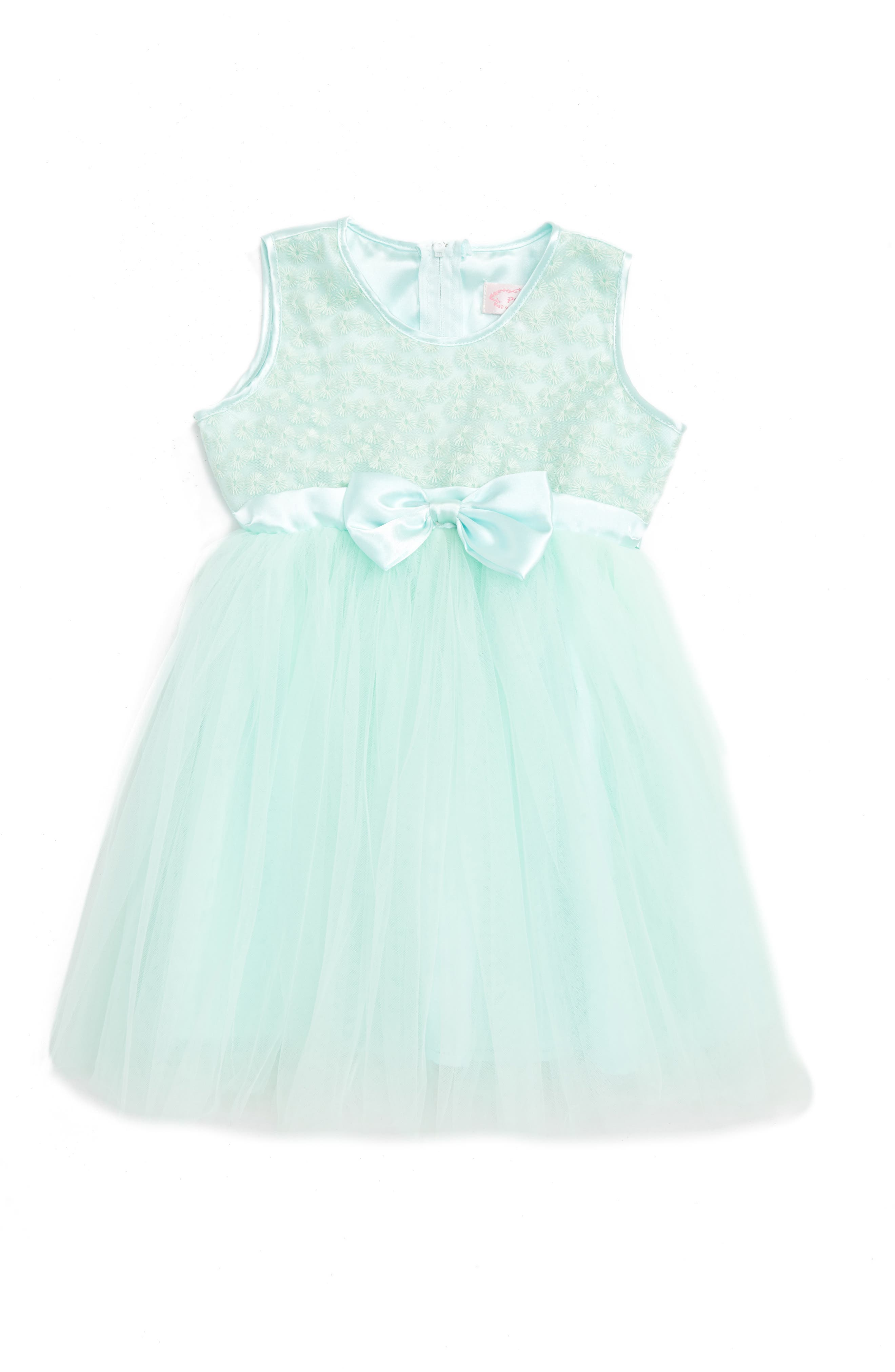 Sleeveless Tulle Dress,                         Main,                         color, Mint