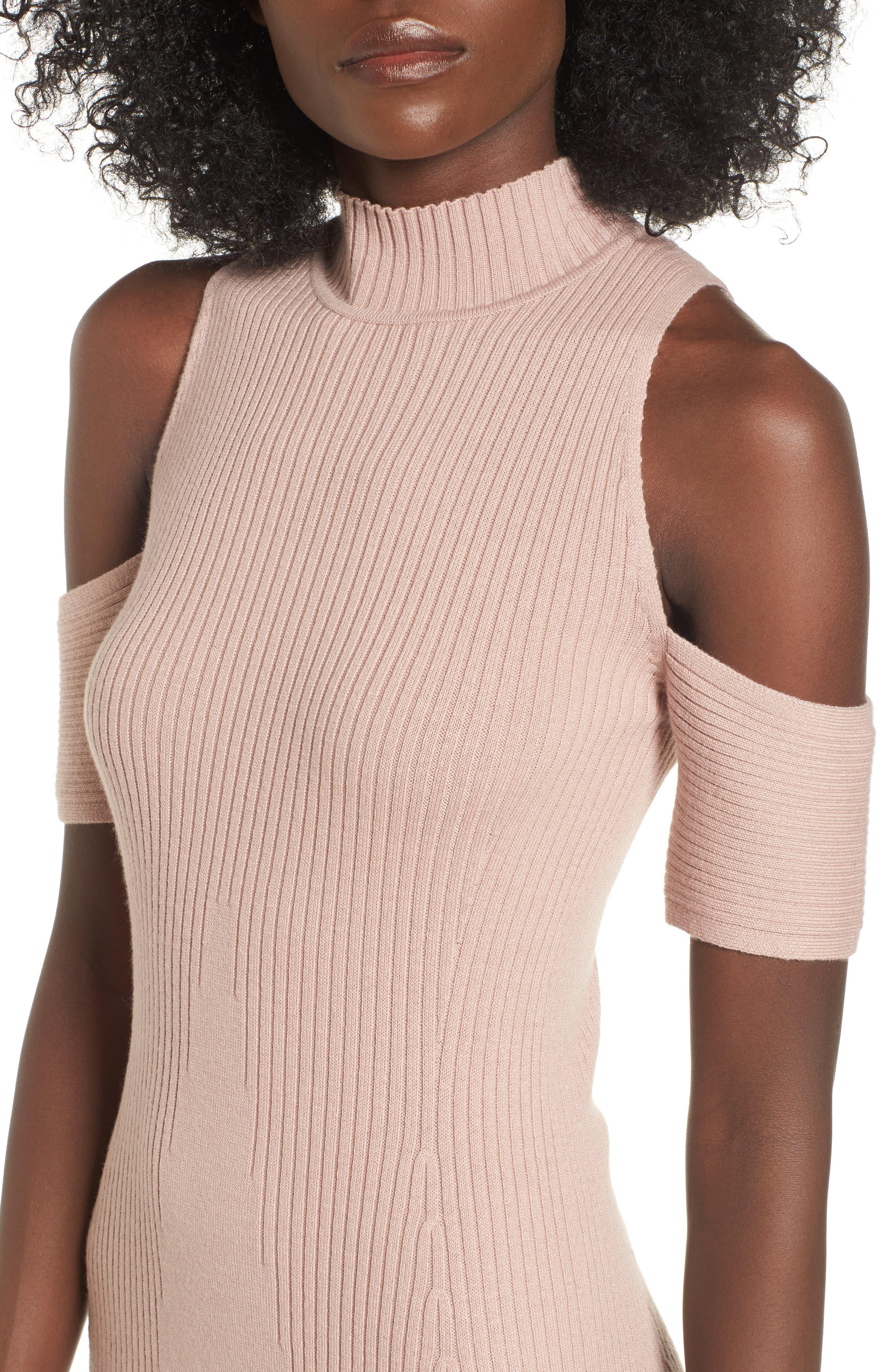 Alternate Image 4  - Leith Cold Shoulder Sweater-Dress