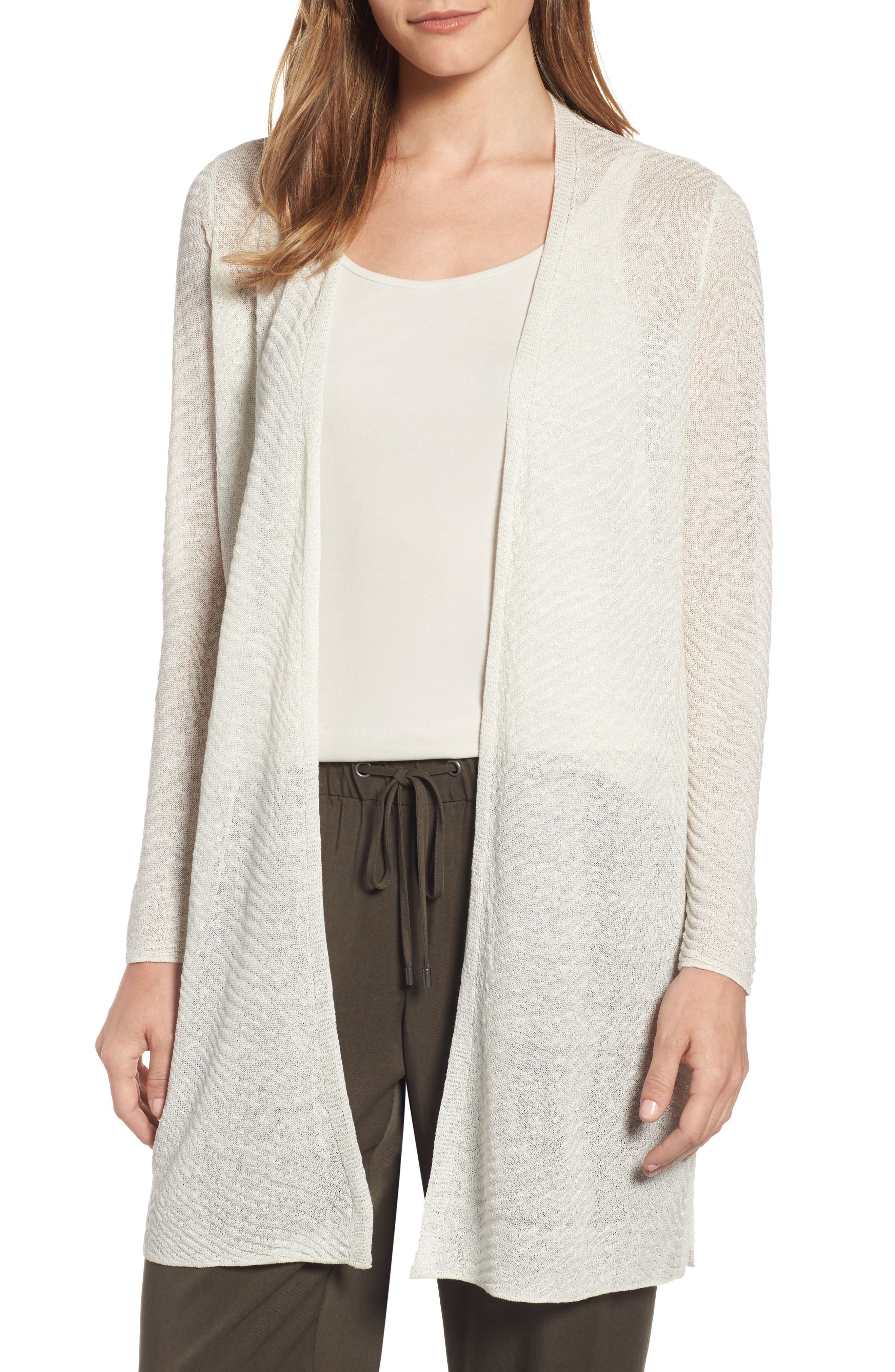 Eileen Fisher Hemp Blend Long Cardigan (Regular & Petite)