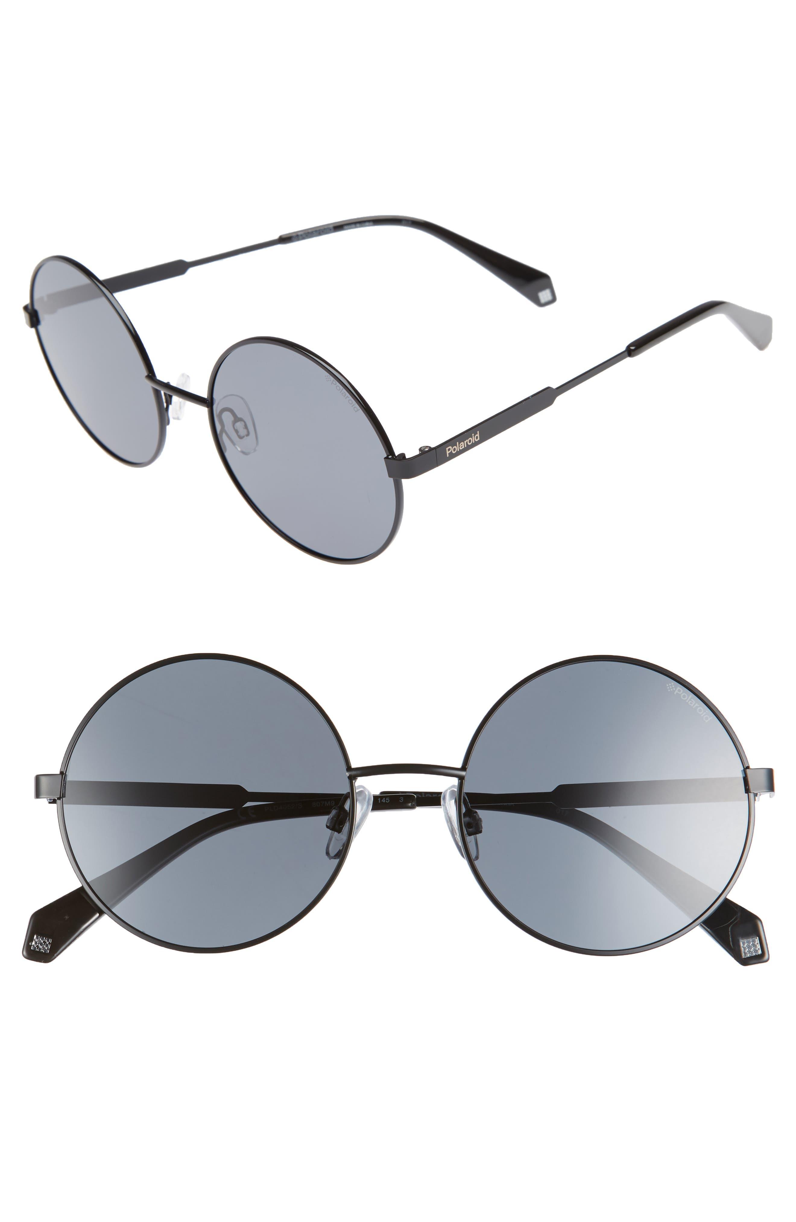 55mm Polarized Round Sunglasses,                         Main,                         color, Black