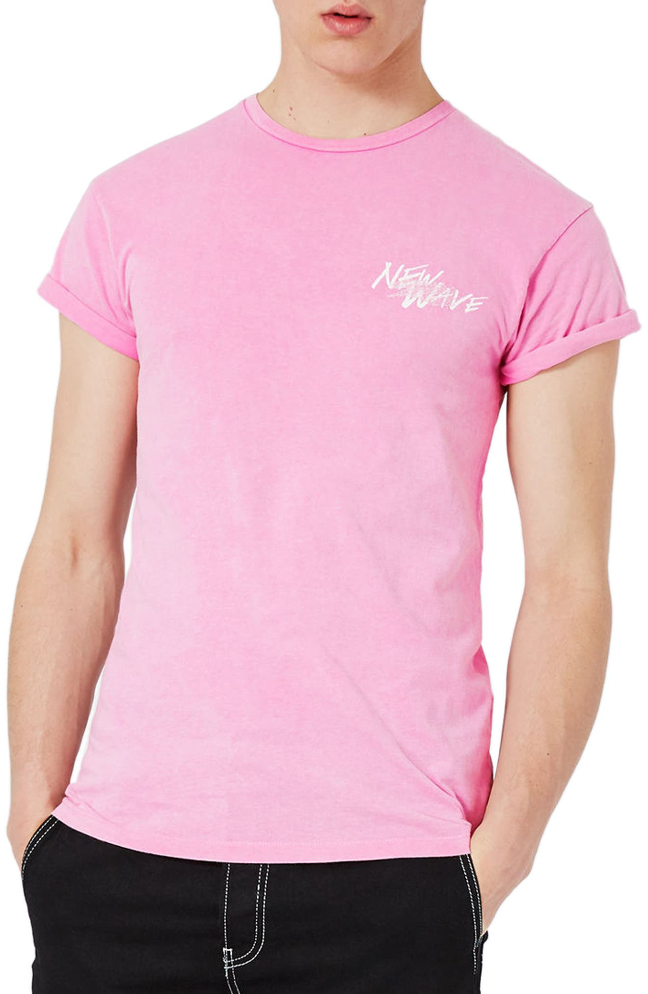 Topman Muscle Fit Embroidered New Wave T-Shirt