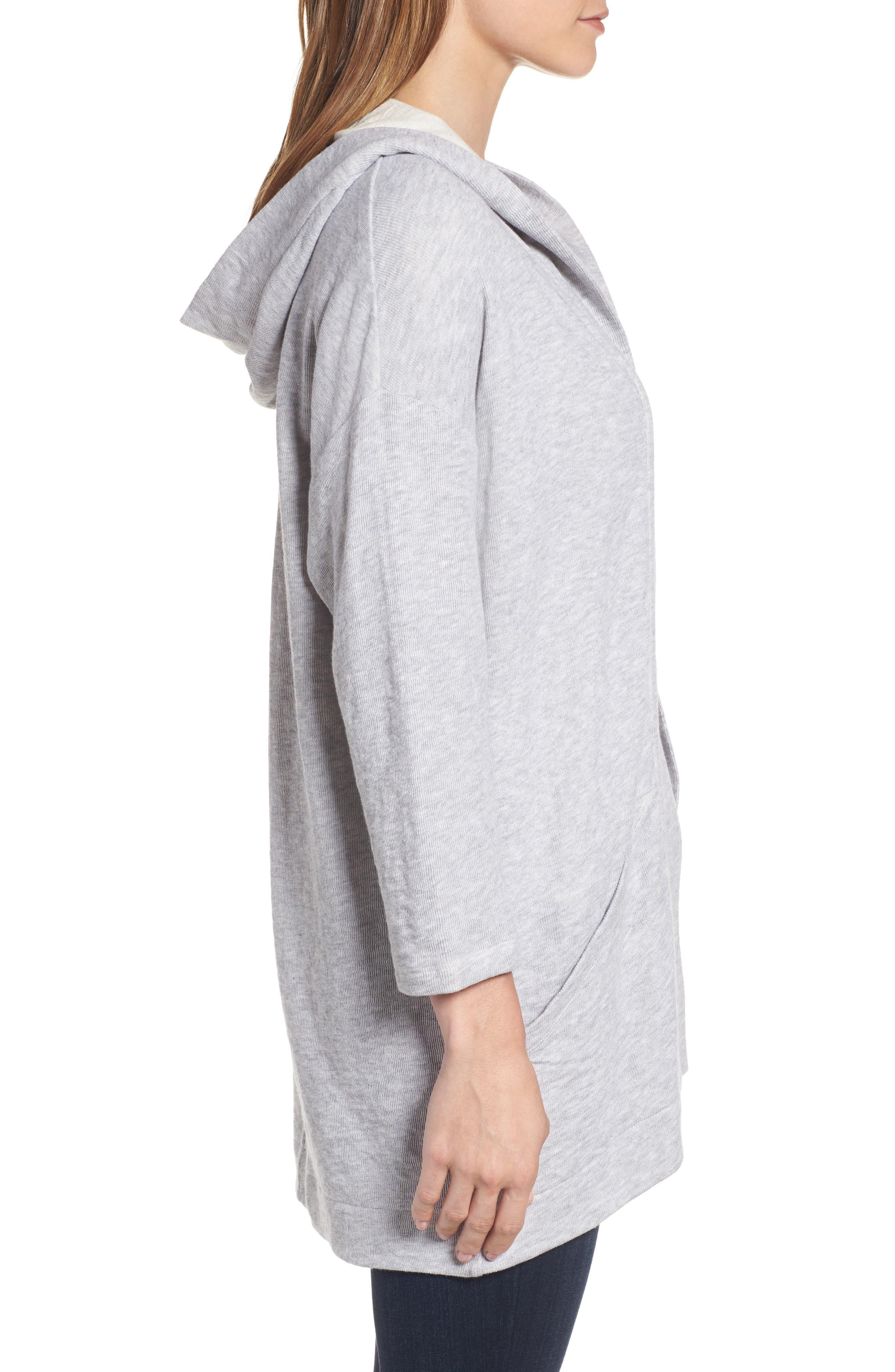Organic Cotton Knit Hooded Jacket,                             Alternate thumbnail 3, color,                             Dark Pearl